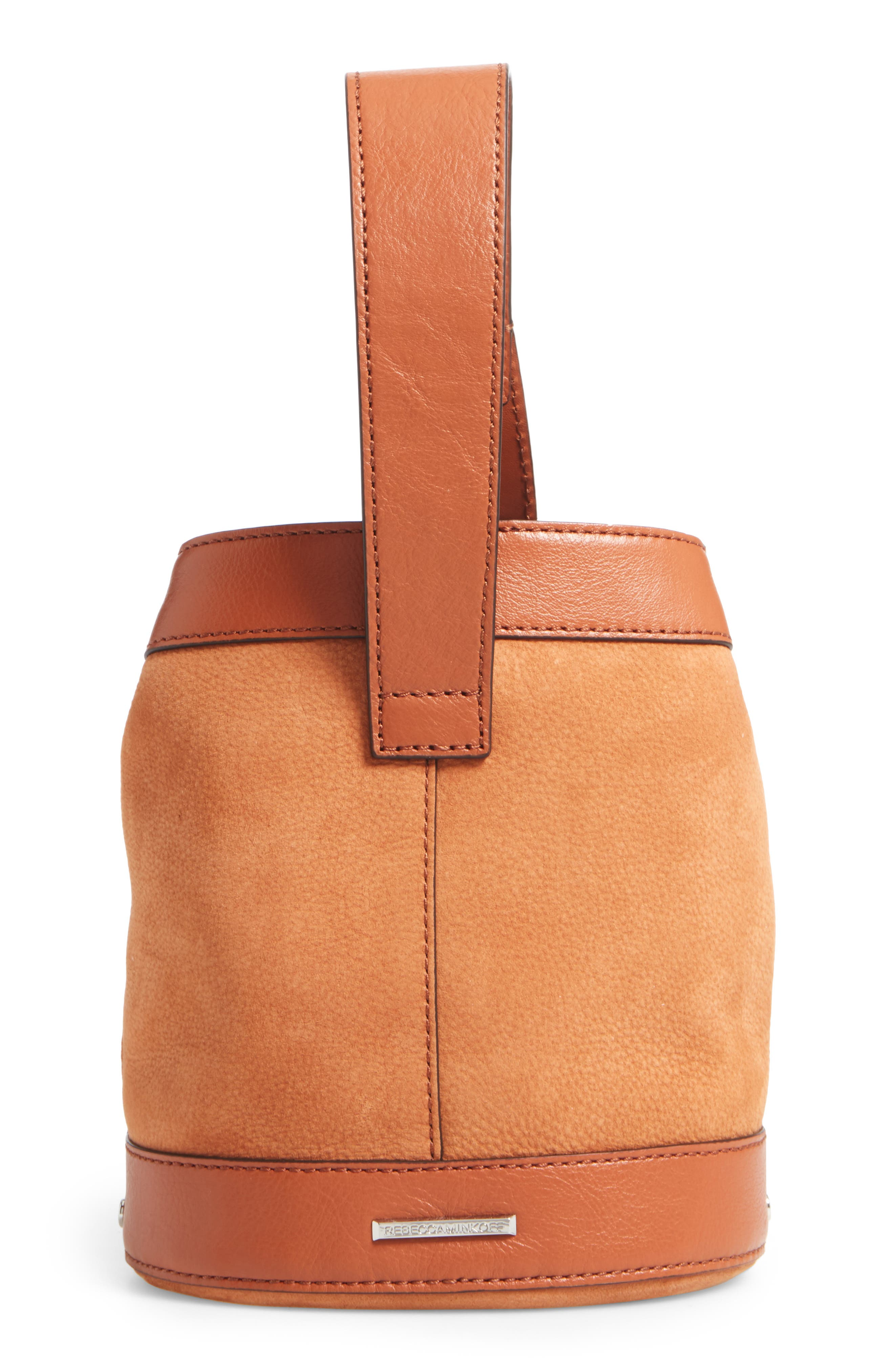 Mini Mission Leather Bucket Bag,                             Alternate thumbnail 4, color,                             Almond