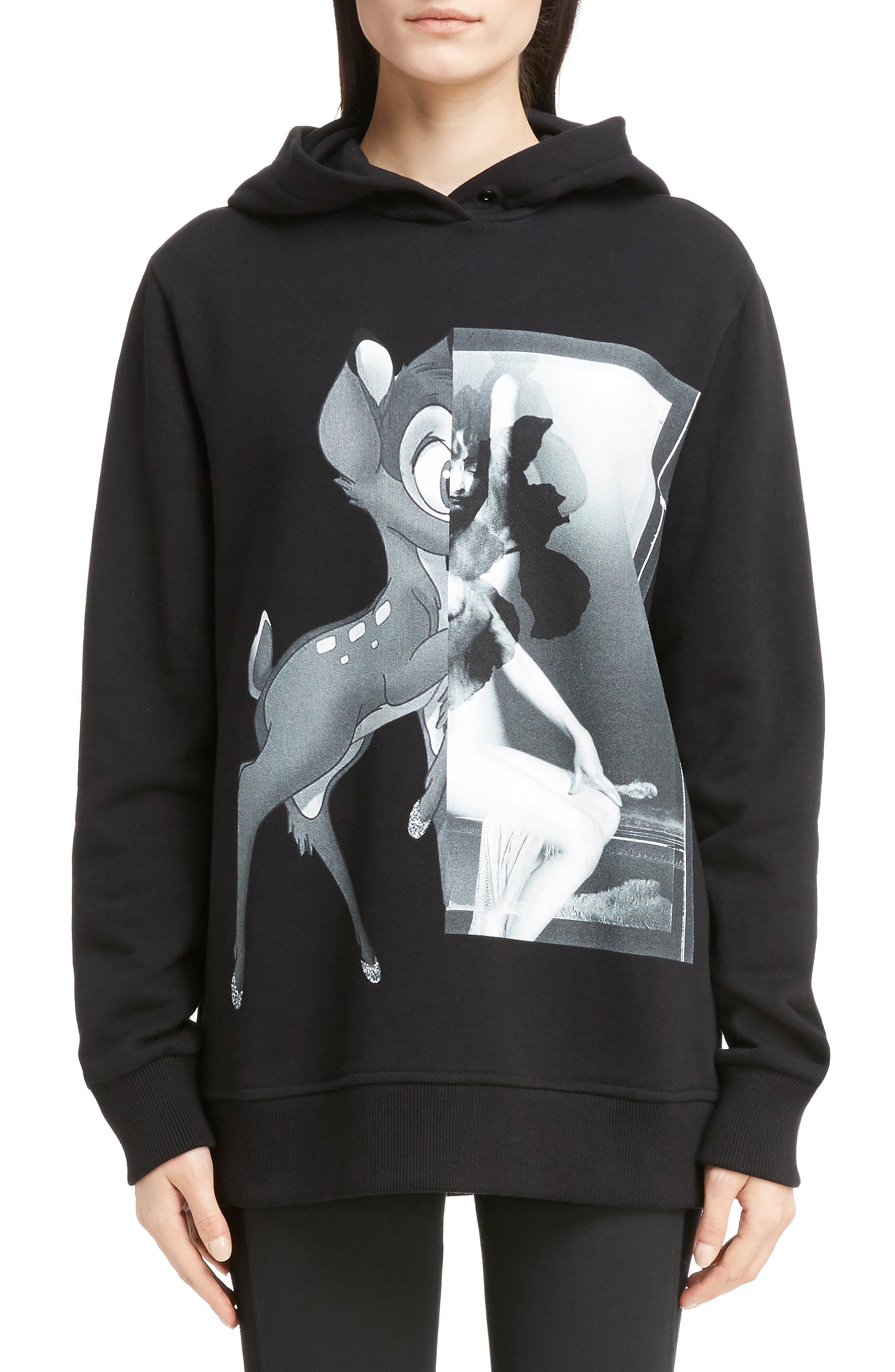 Bambi Cotton Hoodie,                         Main,                         color, Black/White