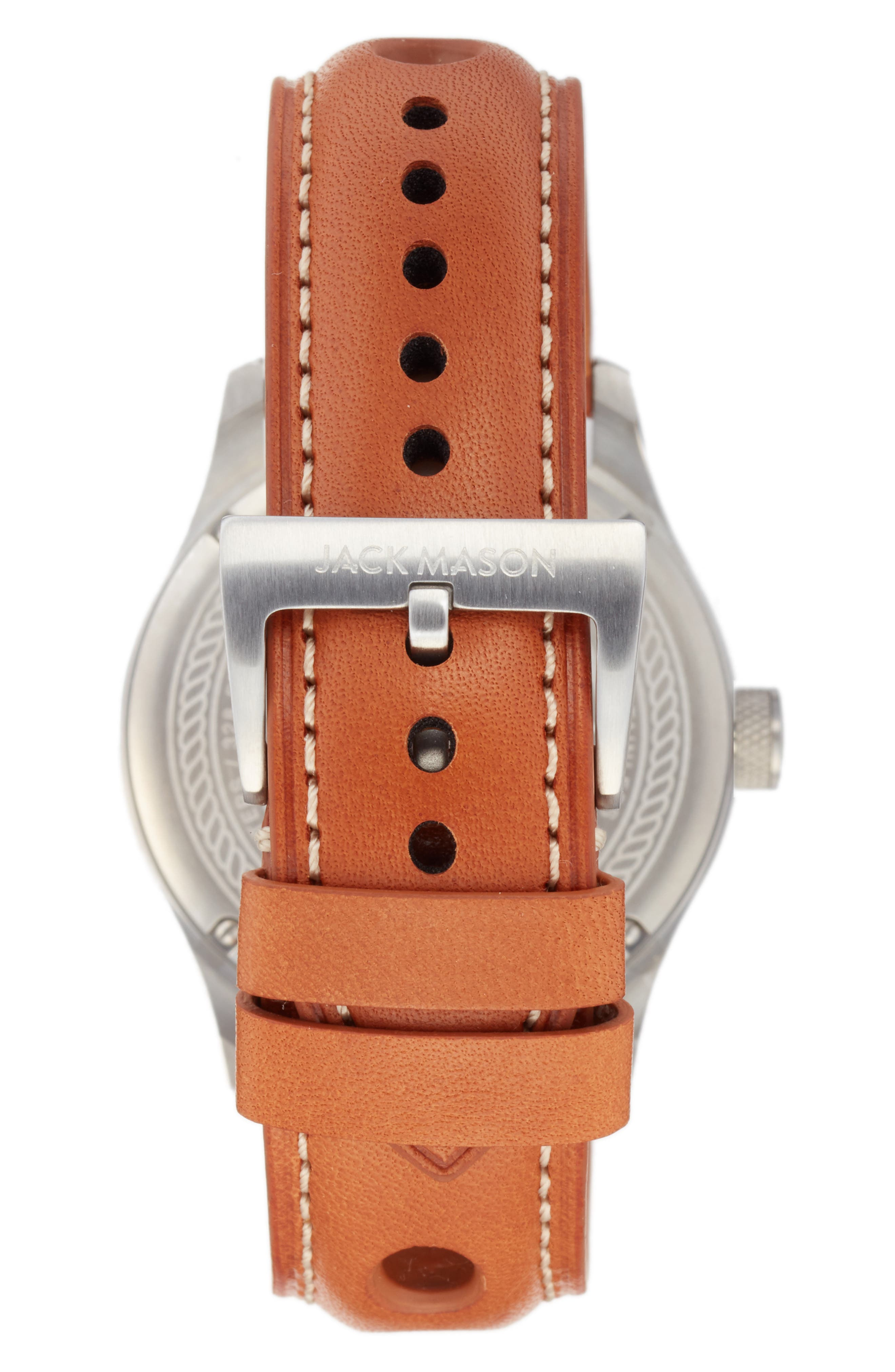 Racing Leather Strap Watch, 42mm,                             Alternate thumbnail 2, color,                             Grey/ Tan