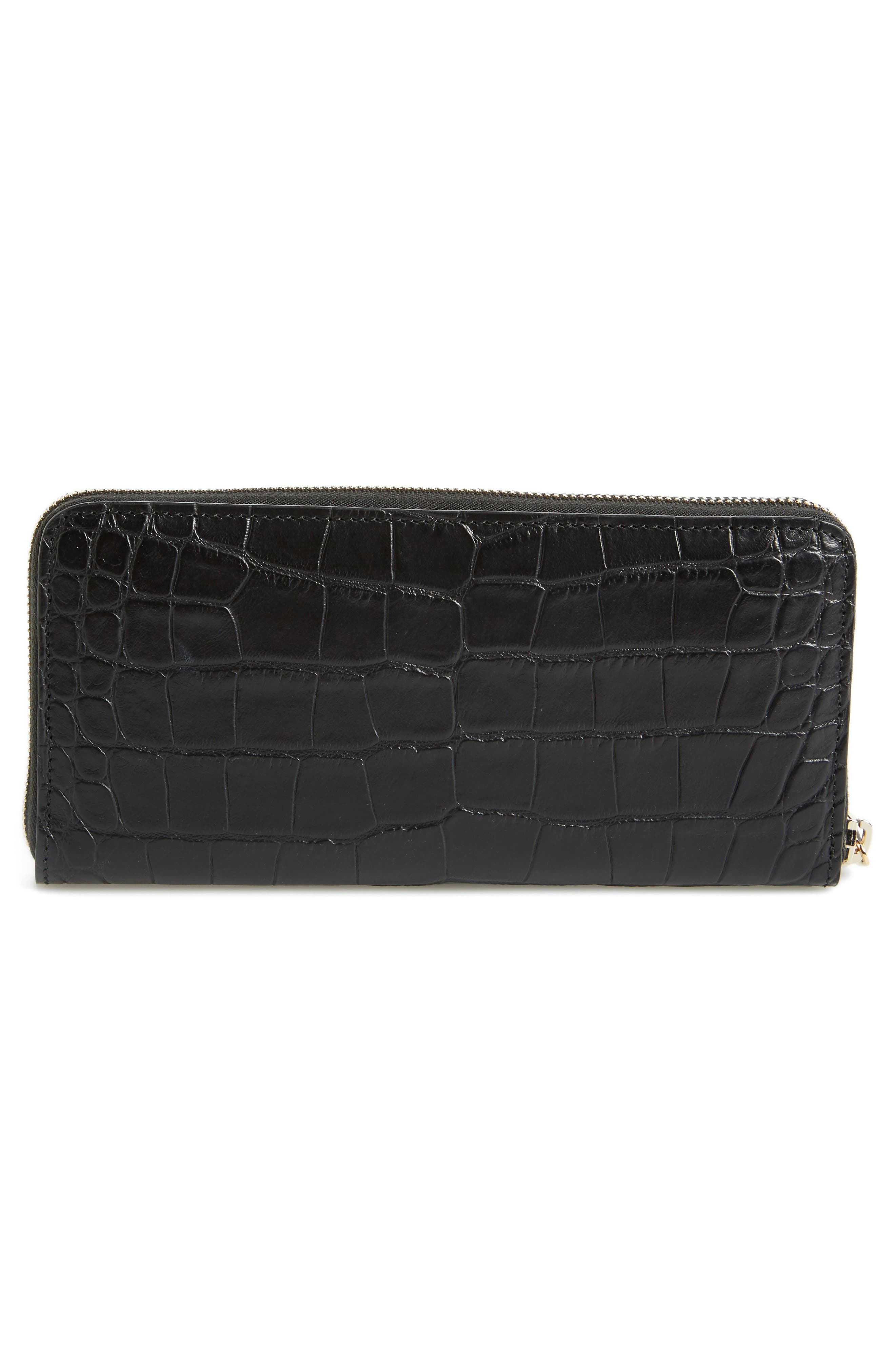 Croc-Embossed Leather Zip Around Wallet,                             Alternate thumbnail 4, color,                             Black