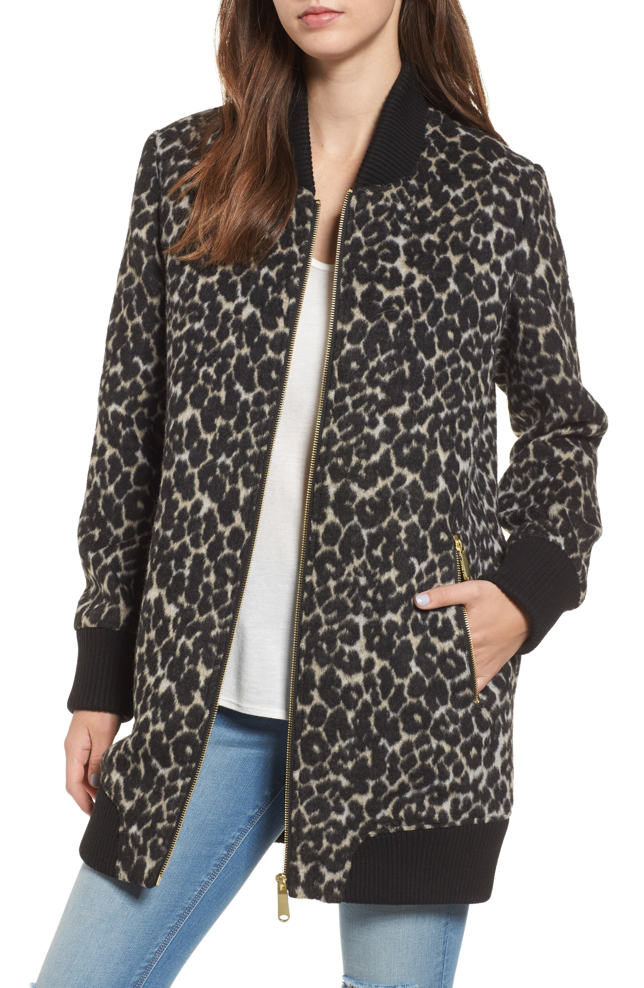 Leopard Print Longline Bomber Jacket,                         Main,                         color, Cream Leopard
