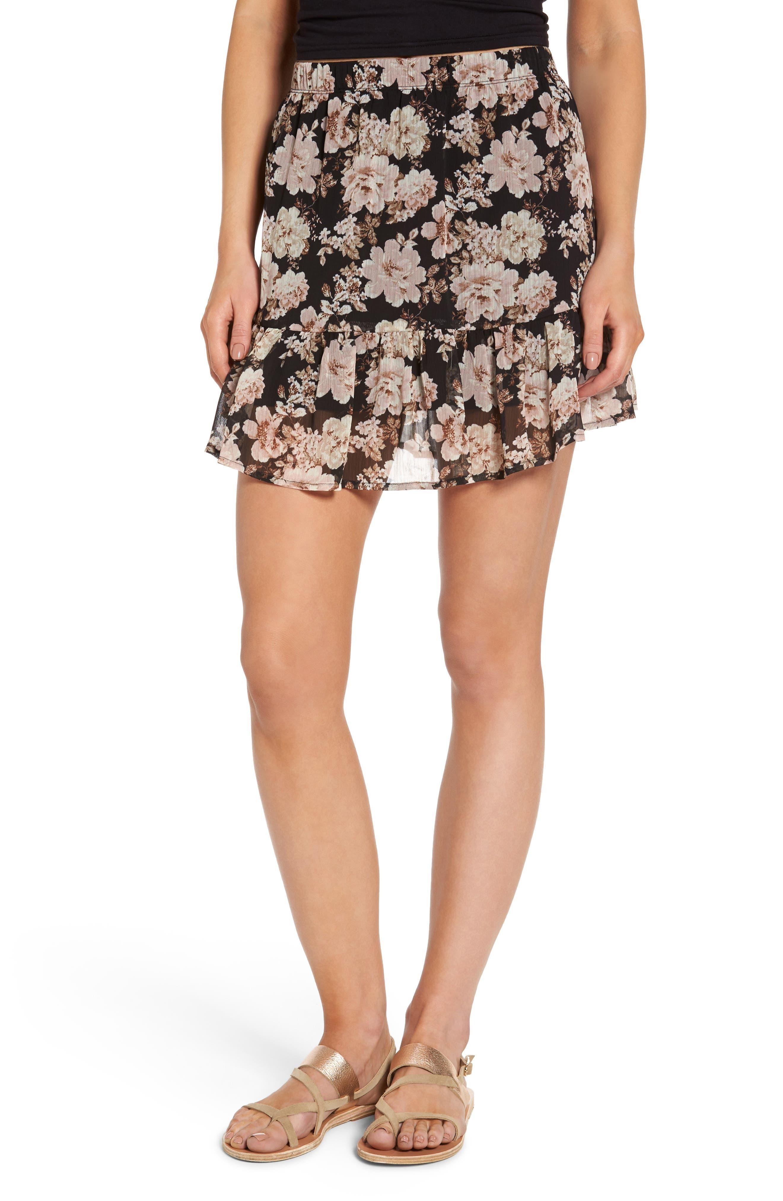 Floral Print Drop Waist Skirt,                         Main,                         color, Black Vintage Floral