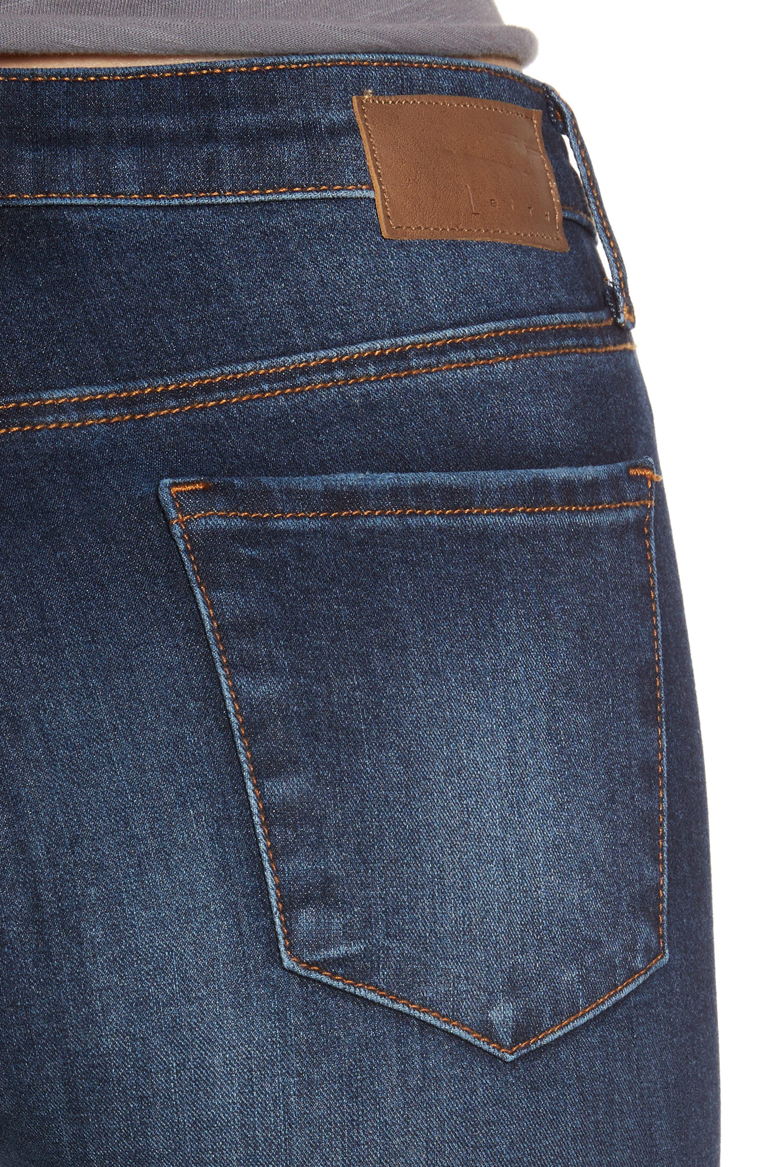 Alternate Image 4  - Leith Ripped Step Hem Skinny Jeans (Destroy Medium)