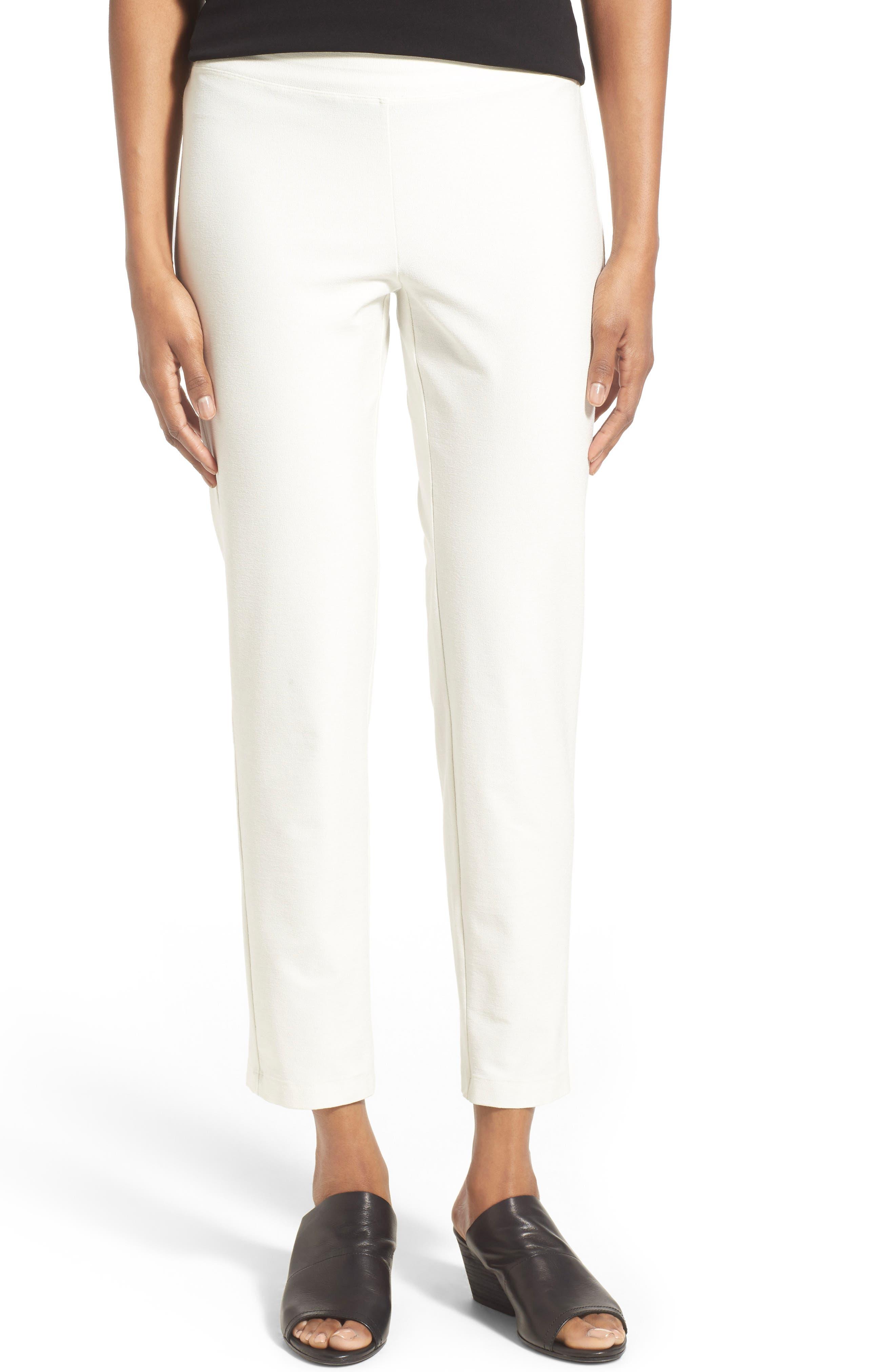 Main Image - Eileen Fisher Stretch Crepe Slim Ankle Pants (Regular & Petite)