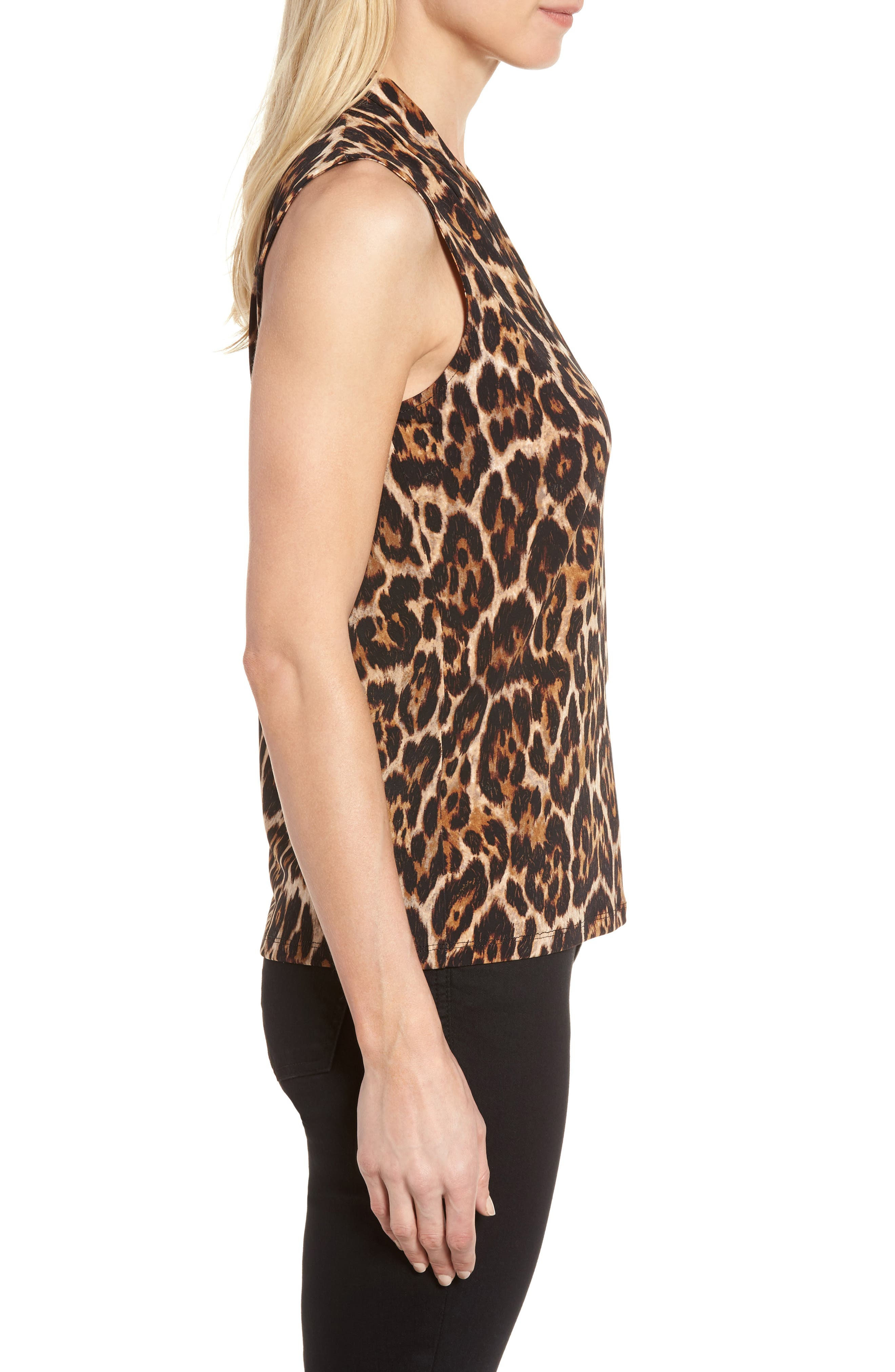 Leopard Print Pleat V-Neck Top,                             Alternate thumbnail 3, color,                             Baton Combo