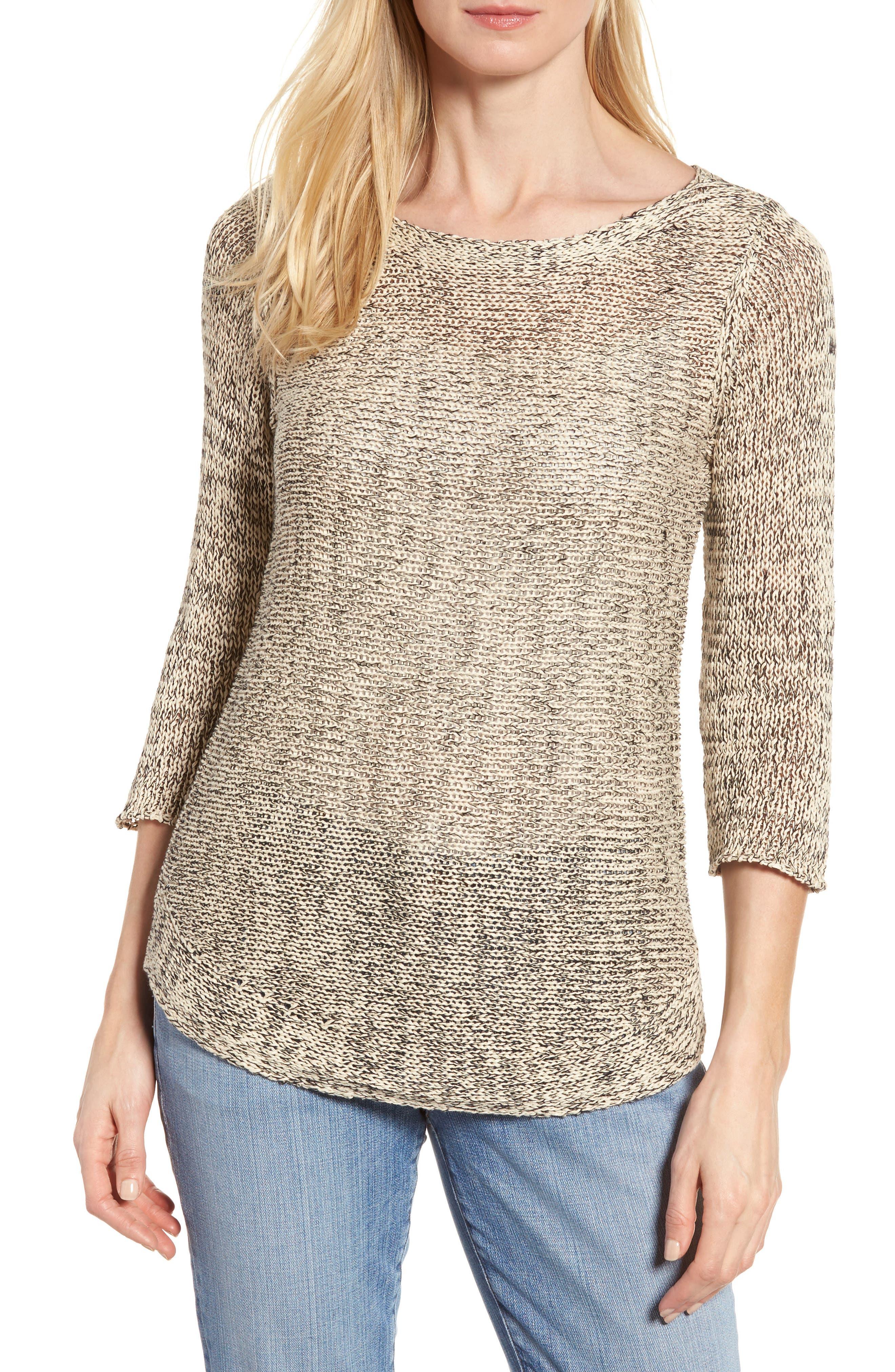 EILEEN FISHER Organic Cotton & Linen Tunic Sweater