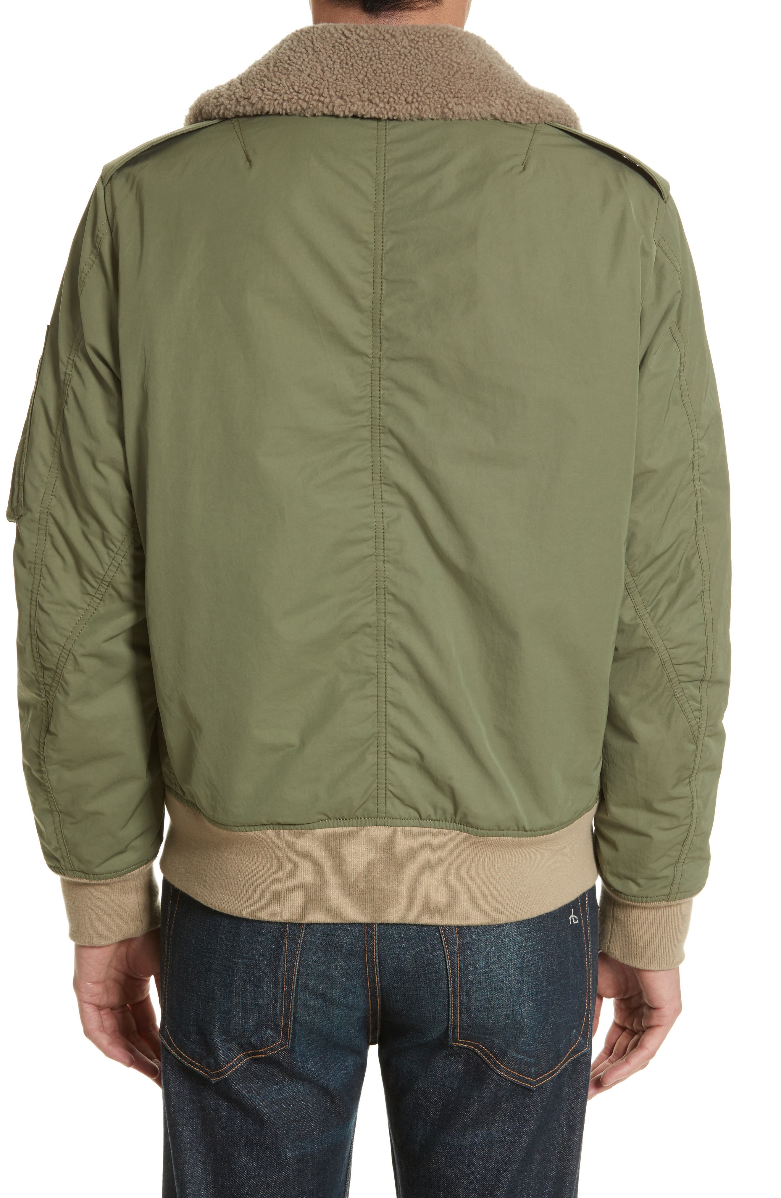 Flight Jacket with Genuine Shearling Collar,                             Alternate thumbnail 2, color,                             Army Green