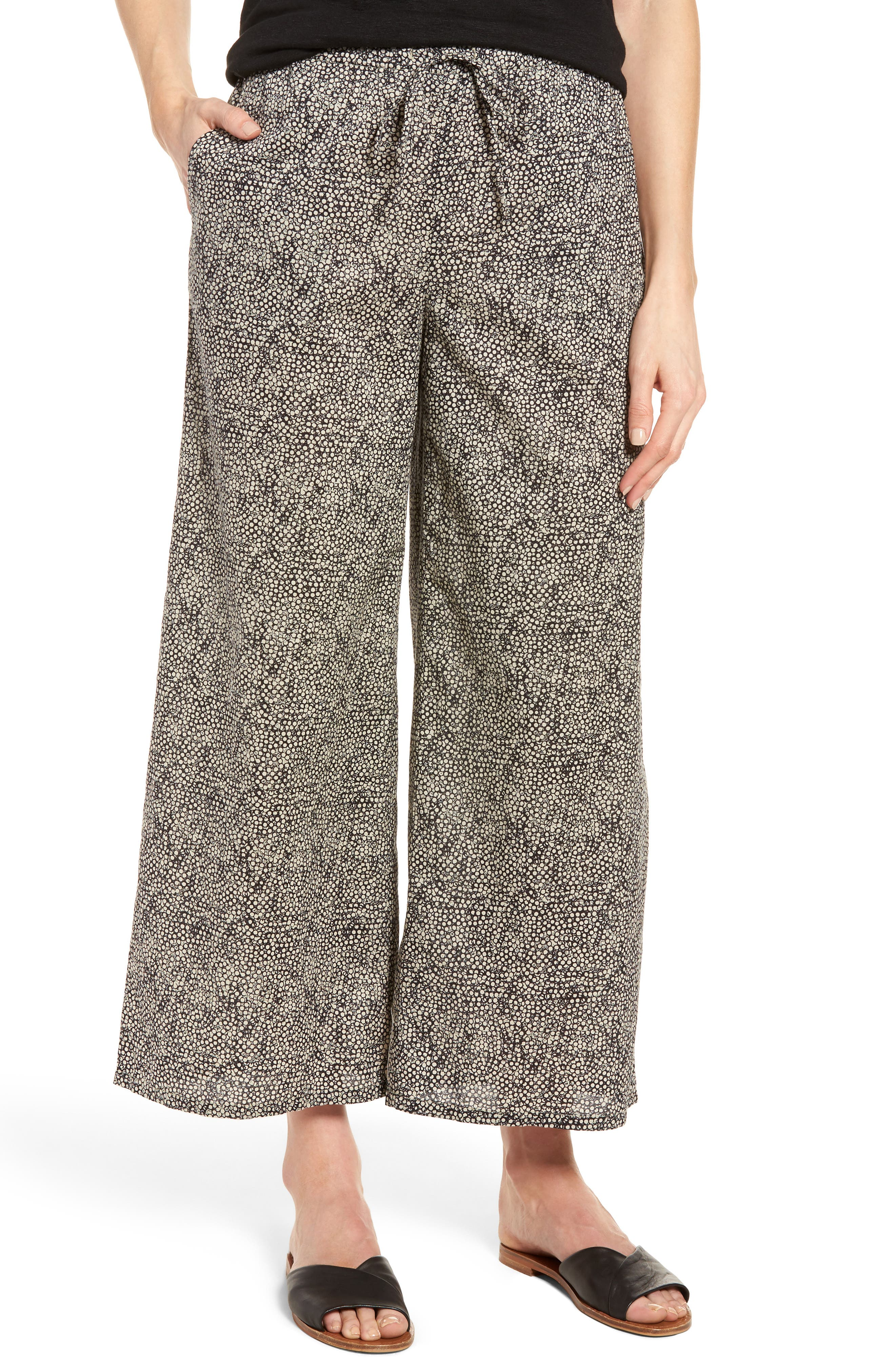 Eileen Fisher Wide Leg Print Organic Cotton Pants (Regular & Petite)
