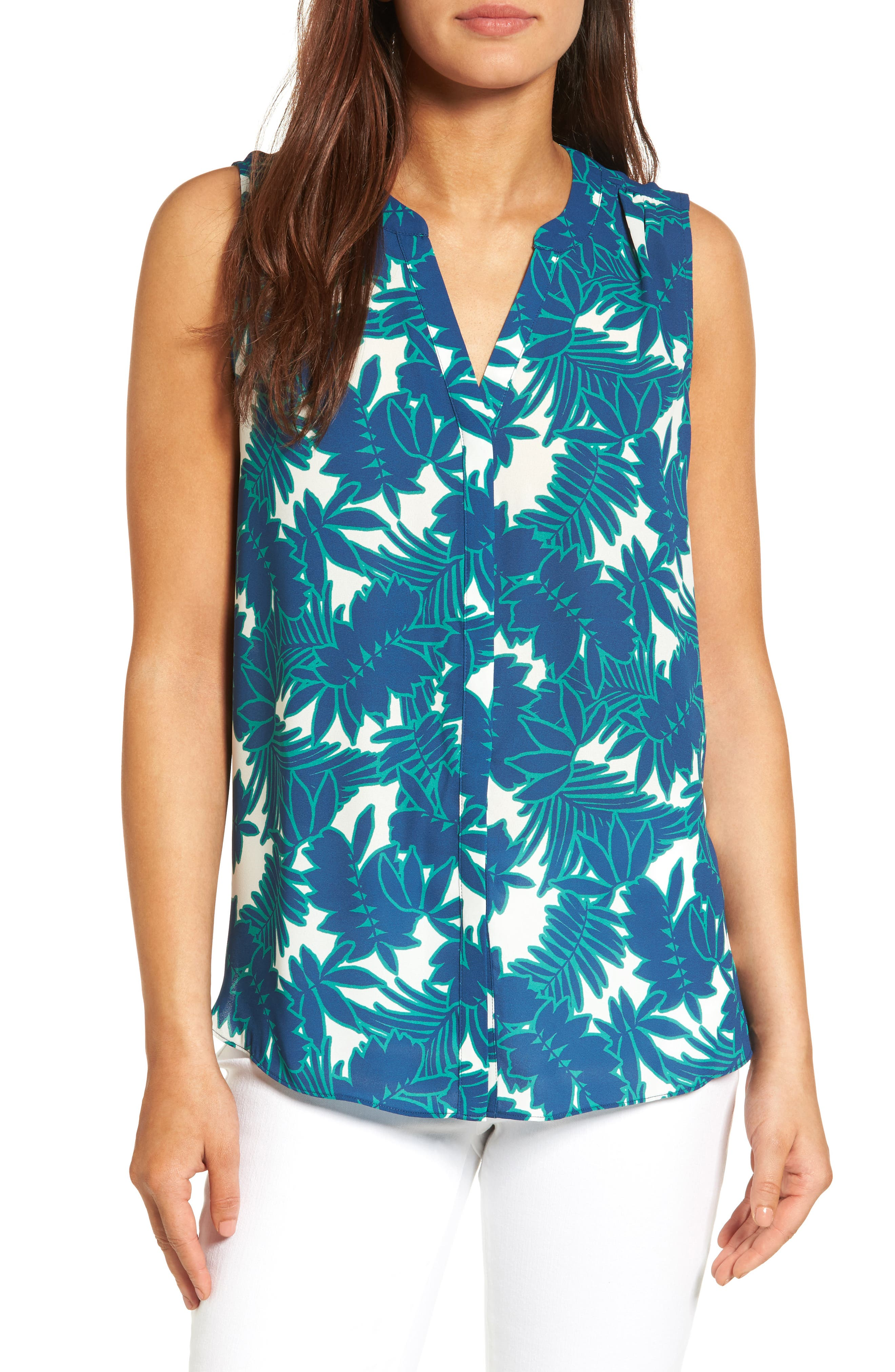 Pleat Back Sleeveless Split Neck Blouse,                             Main thumbnail 1, color,                             Fiji Forest Republique Navy