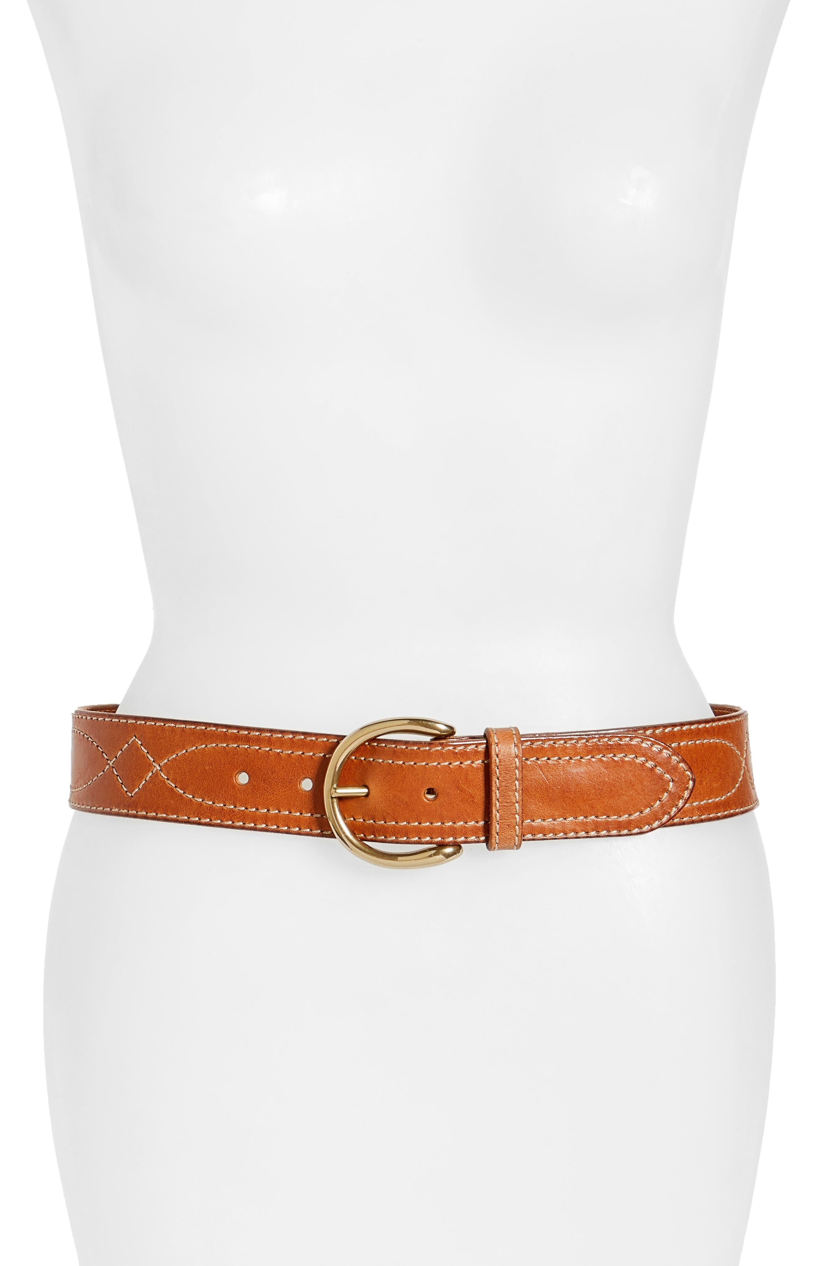 FRYE Campus Stitched Leather Belt