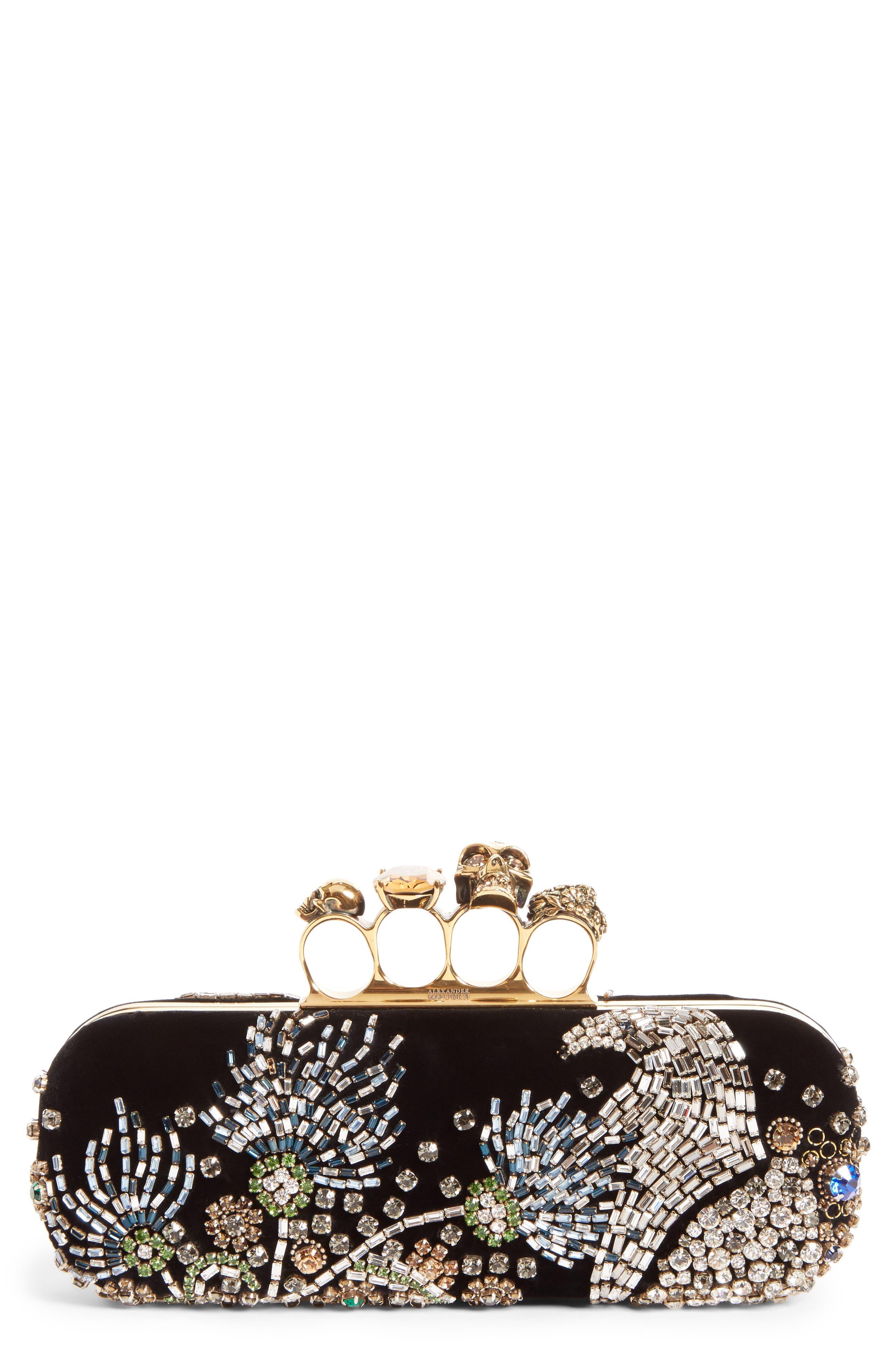 Medievil Embellished Velvet Knuckle Clutch,                         Main,                         color, Black/ Multicolor