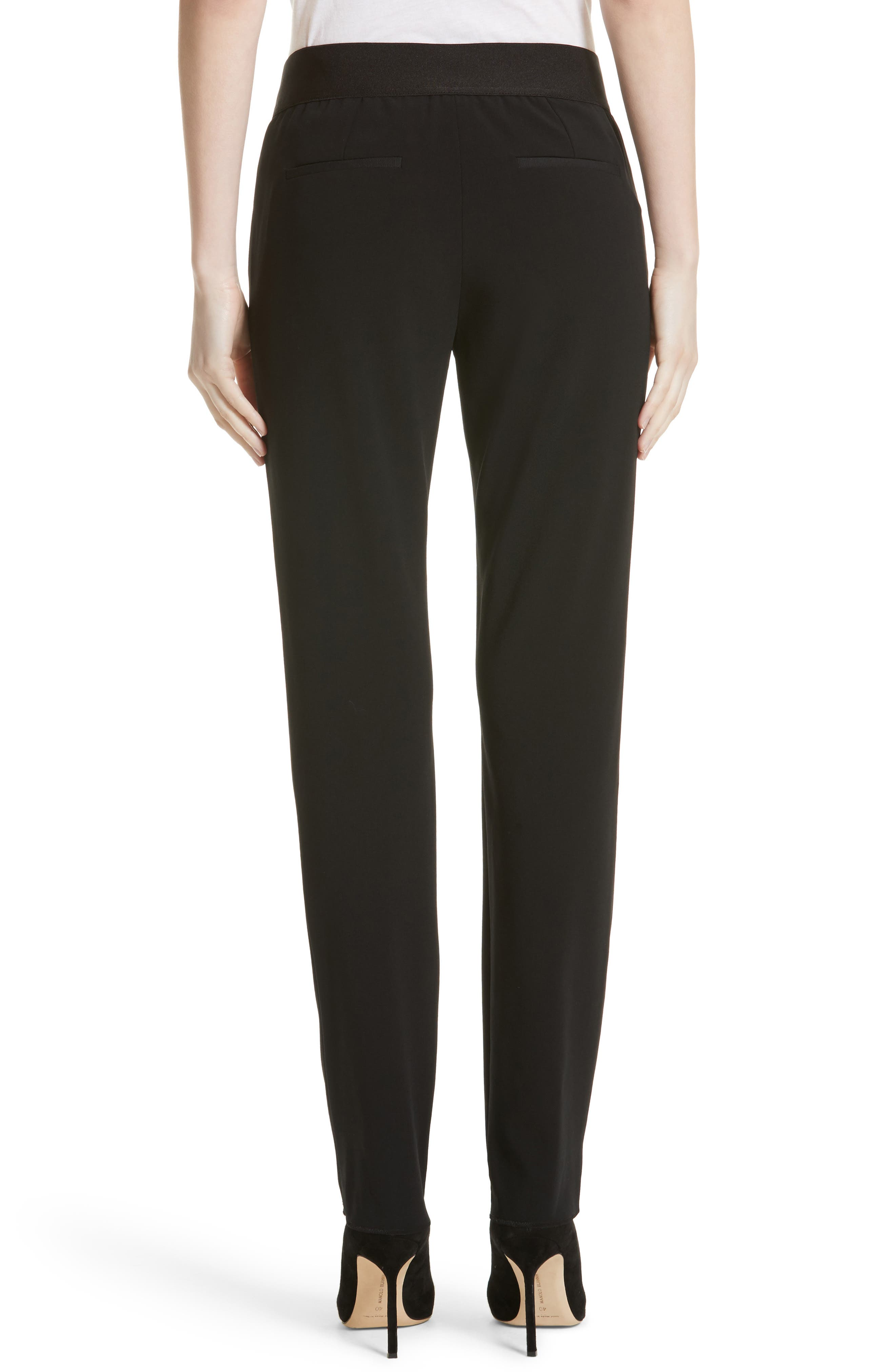 Armani Collezioni Stretch Wool Pants,                             Alternate thumbnail 2, color,                             Black