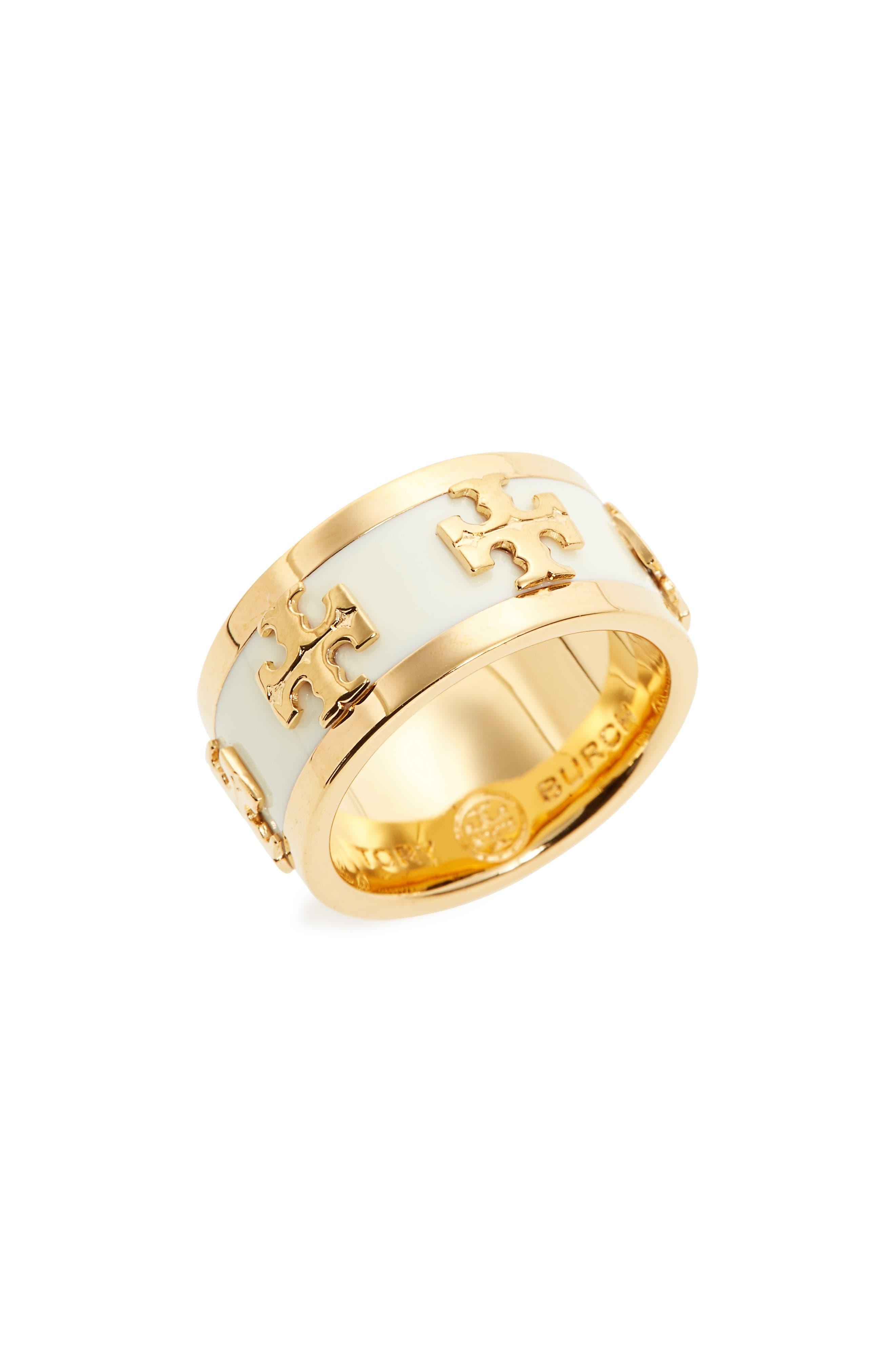 Enamel Logo Ring,                             Main thumbnail 1, color,                             New Ivory / Tory Gold