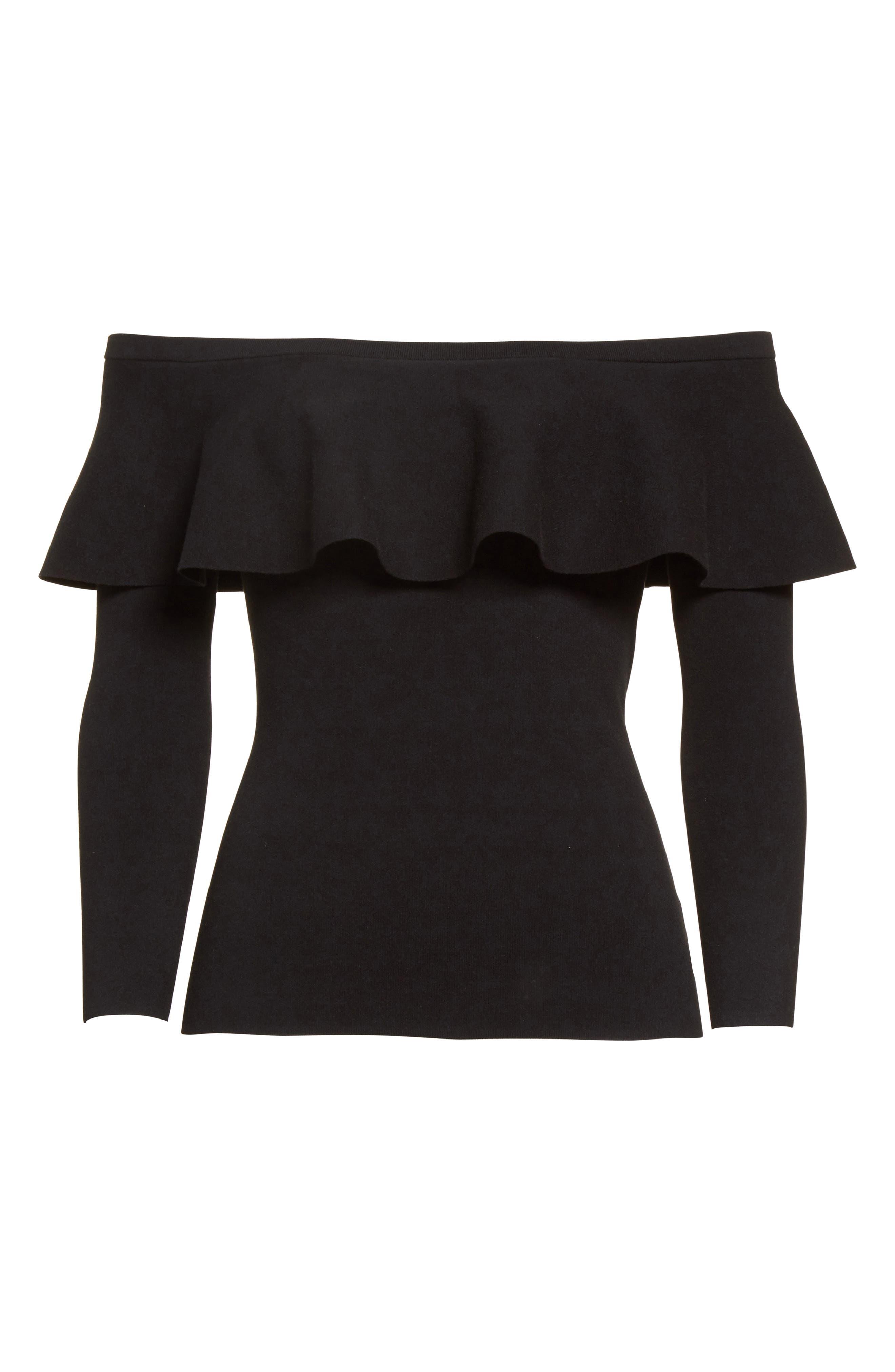 Off the Shoulder Sweater,                             Alternate thumbnail 4, color,                             Black