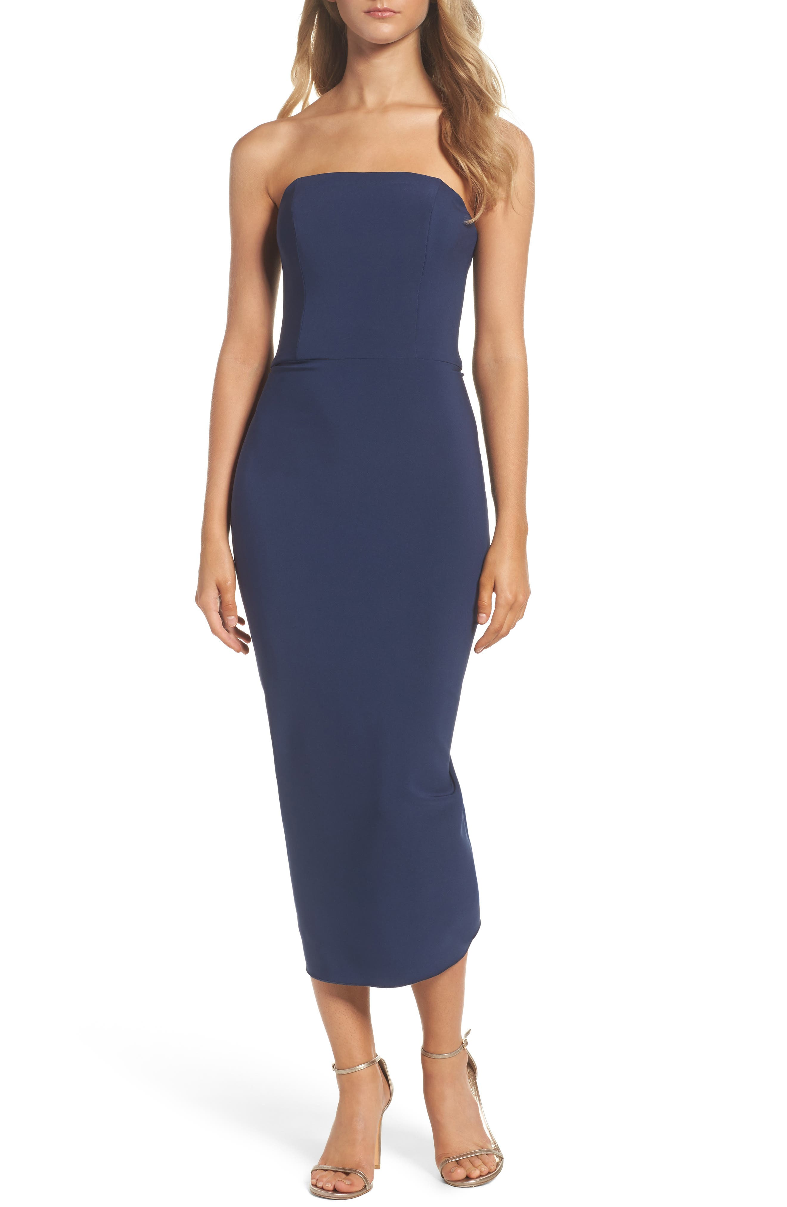 Strapless Ruffle Dress,                         Main,                         color, Navy