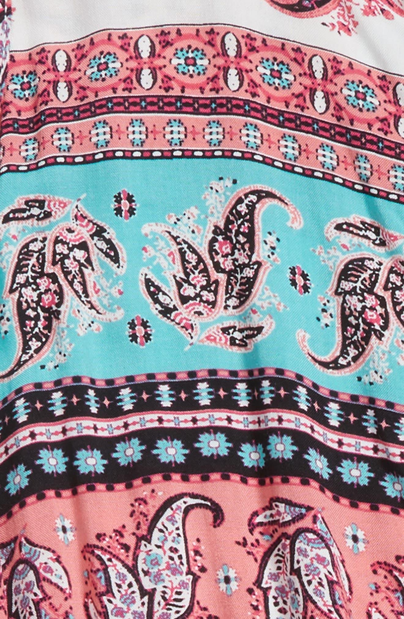 Lace Back Romper,                             Alternate thumbnail 3, color,                             Coral/ Mint