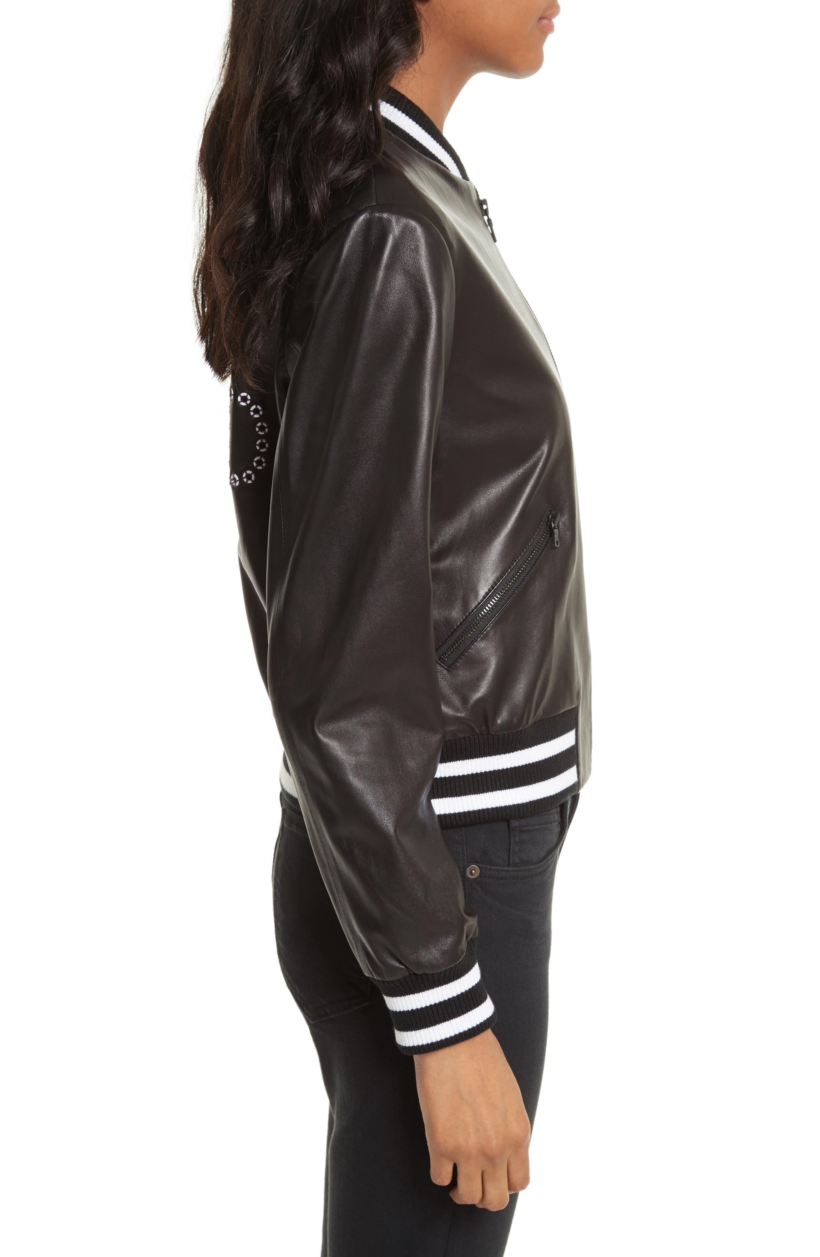 Alternate Image 3  - Alice + Olivia Demia Embellished Crop Leather Bomber Jacket