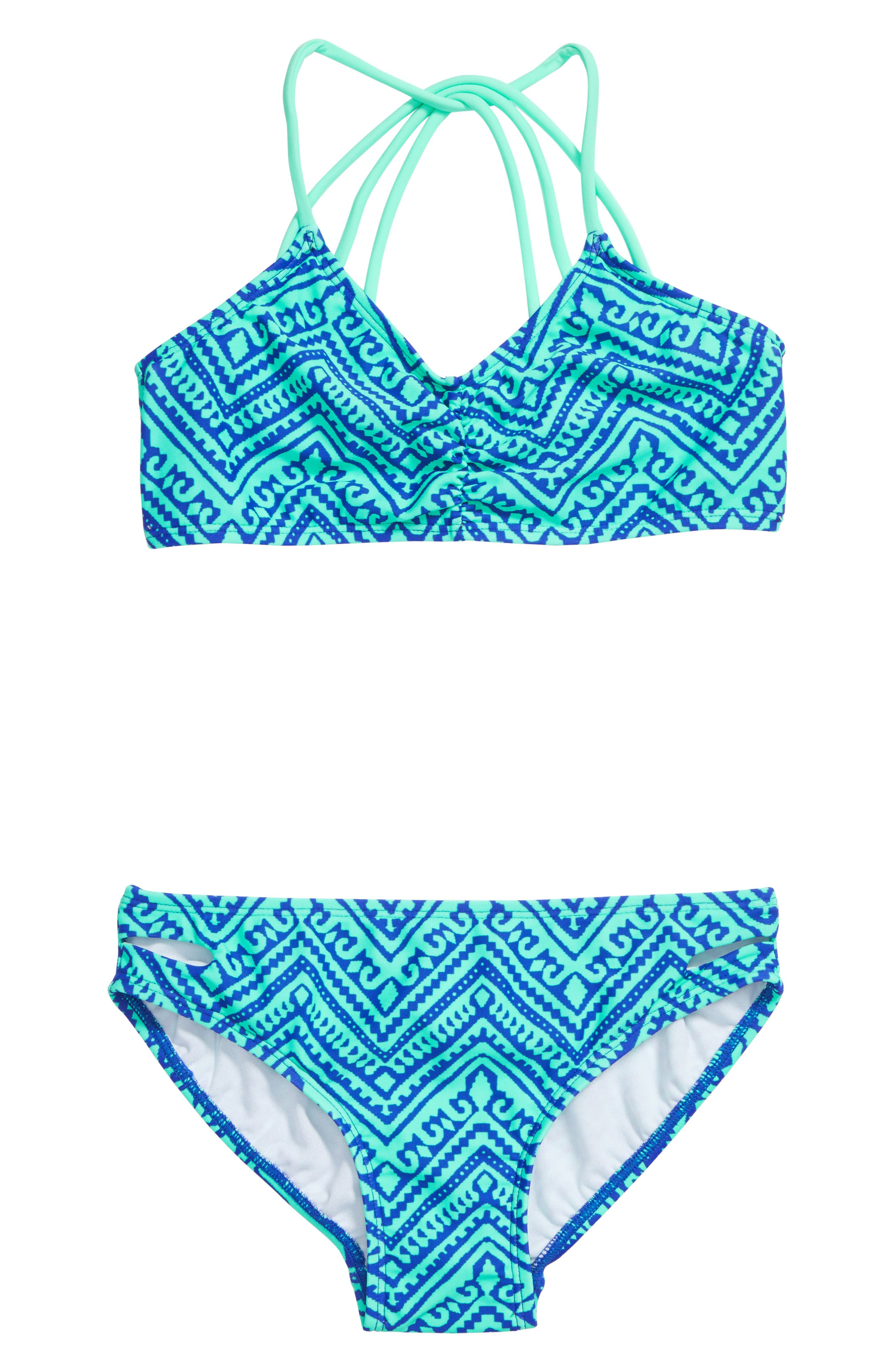 'Zig & Zag' Geo Print Two-Piece Swimsuit,                             Main thumbnail 1, color,                             Mint/ Blue Violet