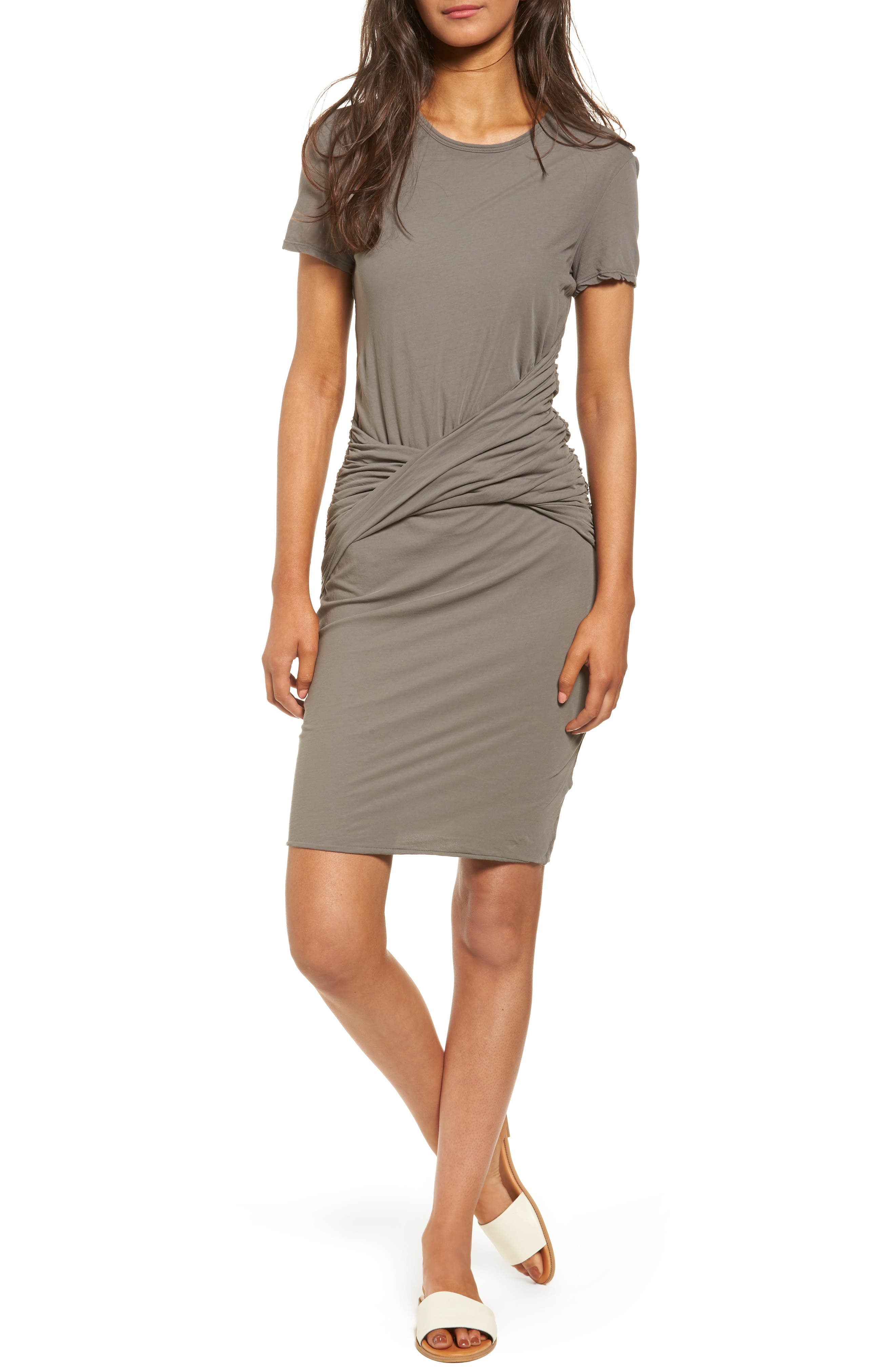 Twisted Drape T-Shirt Dress,                             Main thumbnail 1, color,                             Shale