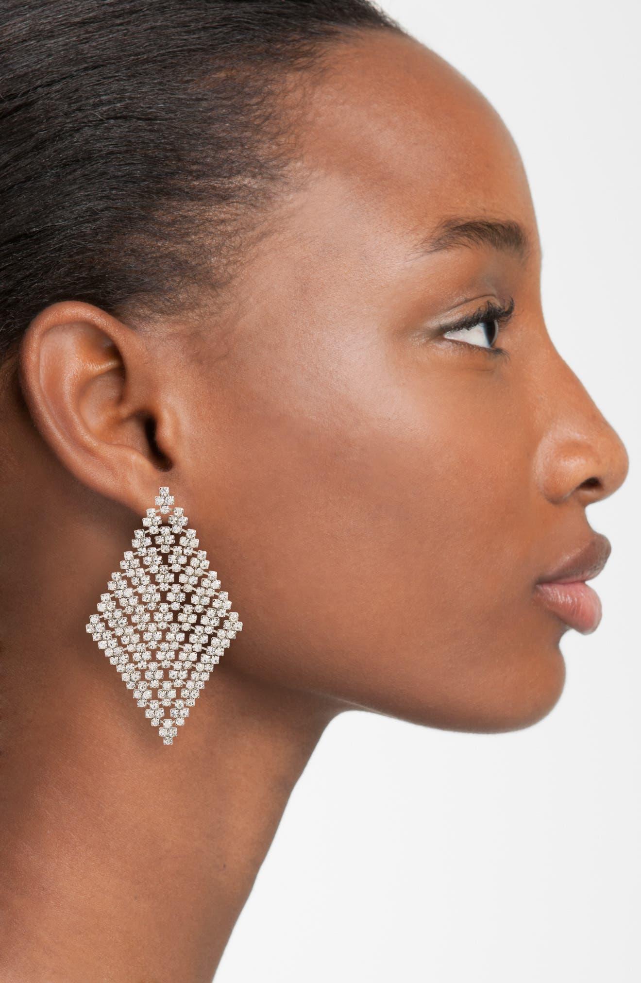 Crystal Mesh Drop Earrings,                             Alternate thumbnail 2, color,                             Silver