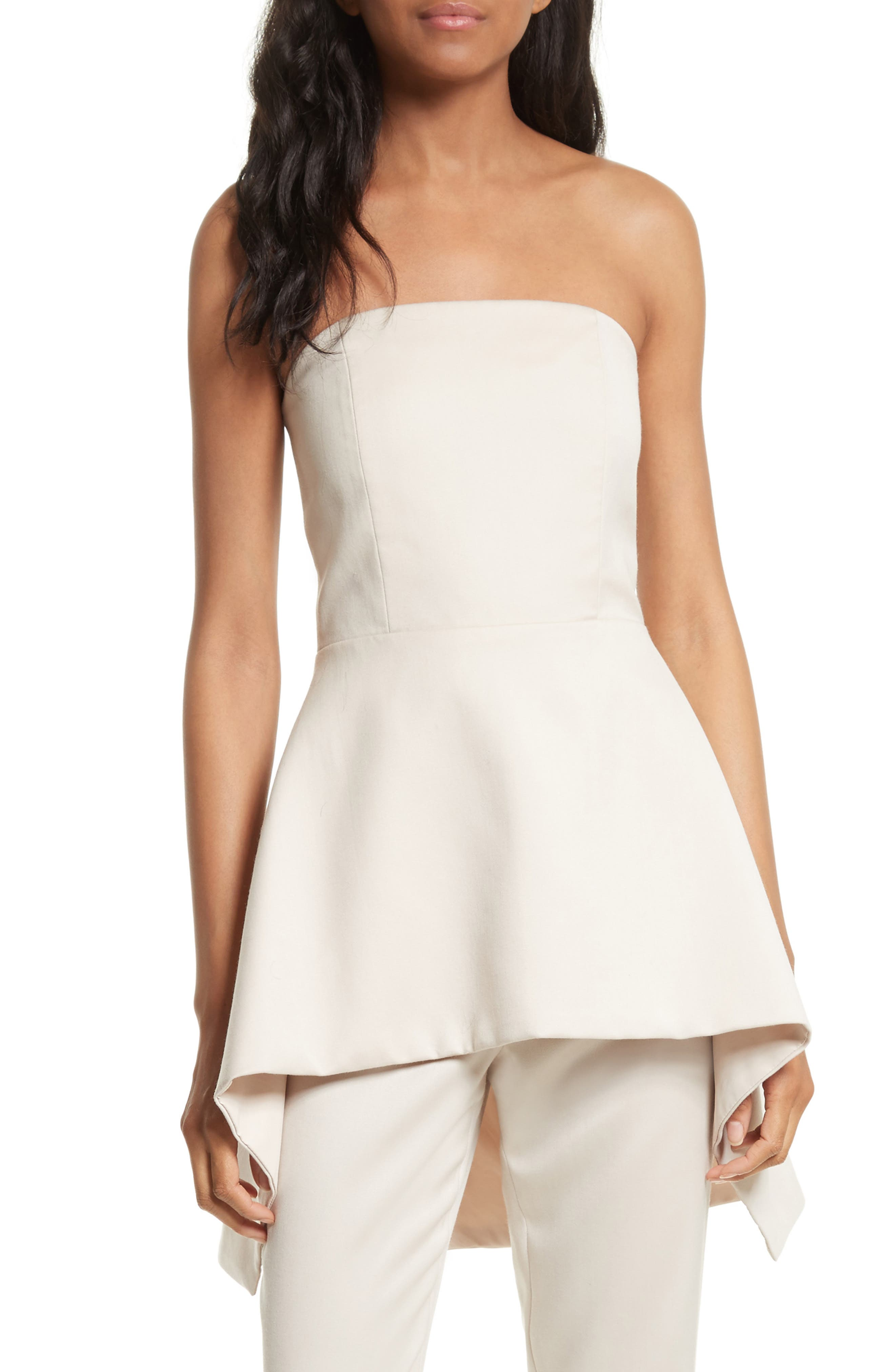 Duncan Strapless High/Low Peplum Top,                             Main thumbnail 1, color,                             Pale Nude