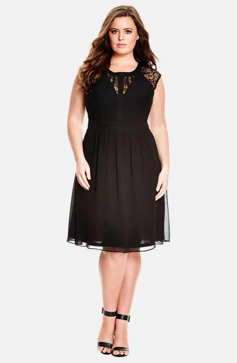 b61e8796c96e2 City Chic Dark Romance Lace Detail Dress (Plus Size)