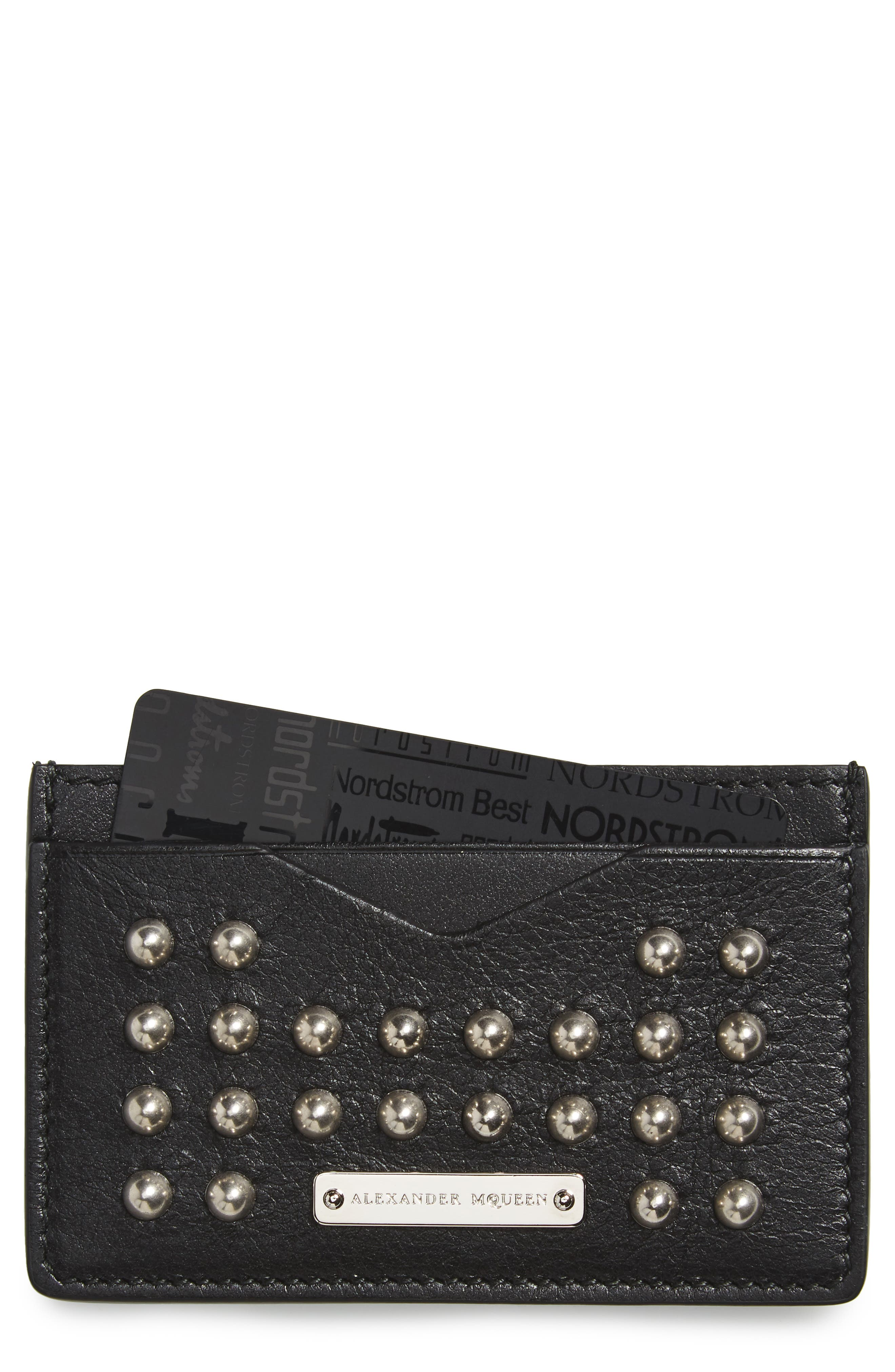 Studded Leather Card Case,                         Main,                         color, Black
