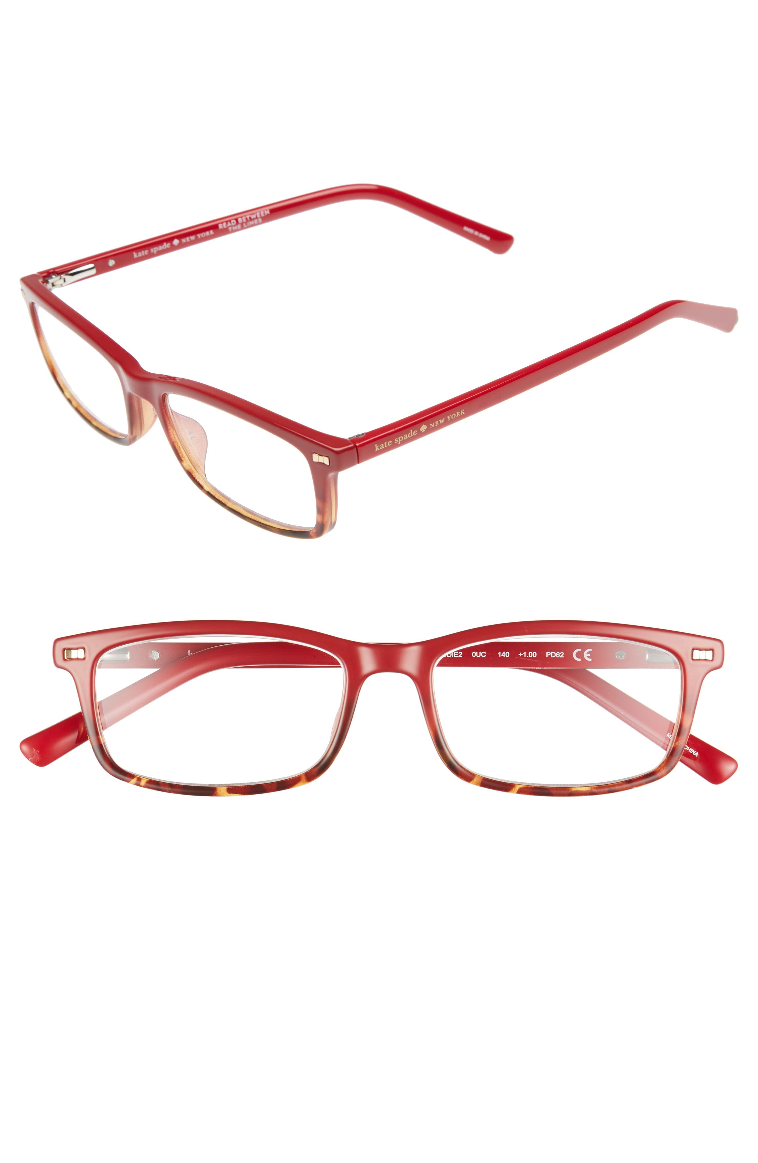 jodie 50mm rectangular reading glasses,                         Main,                         color, Red Havana