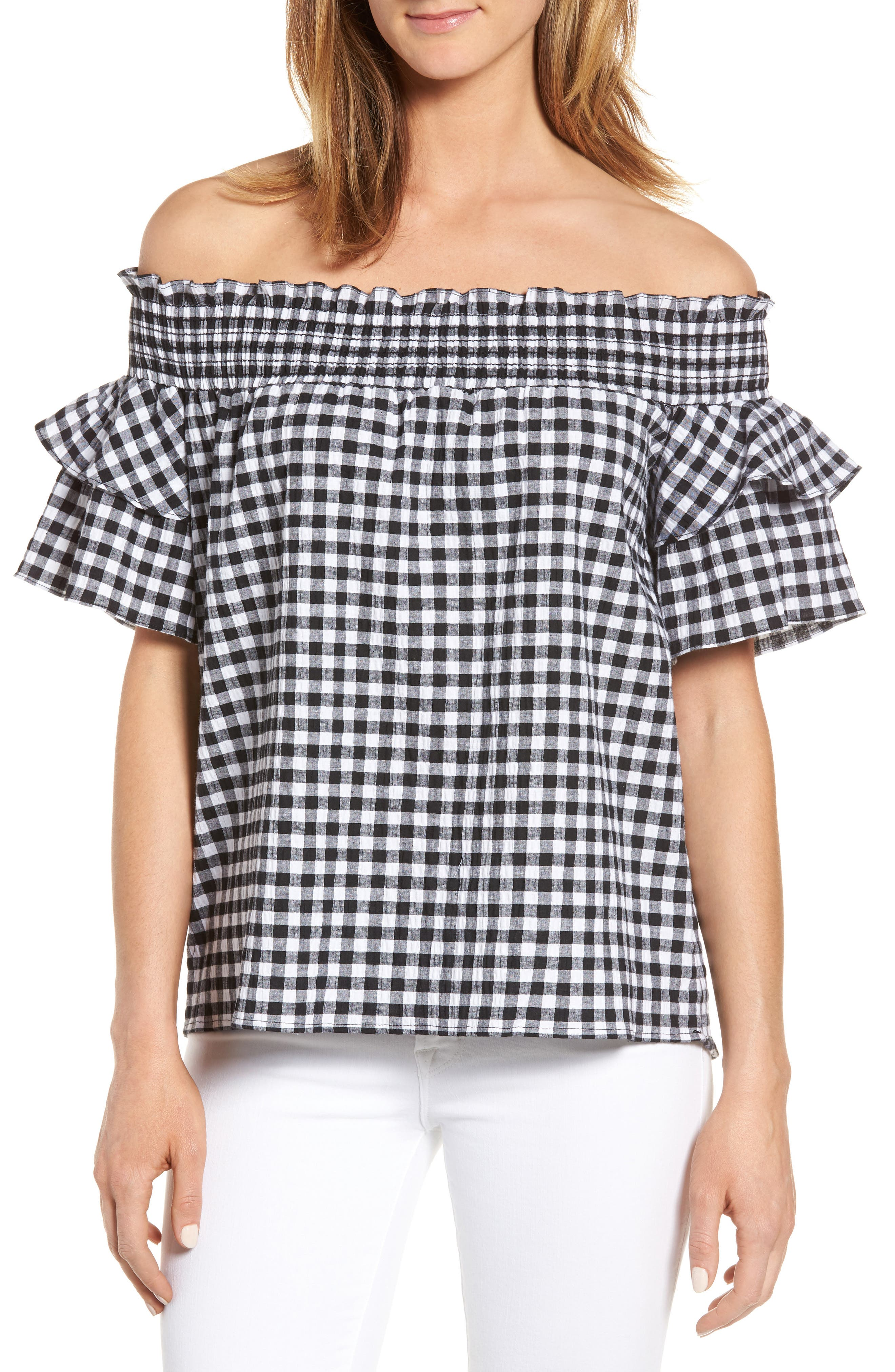 Main Image - Caslon® Off the Shoulder Ruffle Sleeve Top (Regular & Petite)