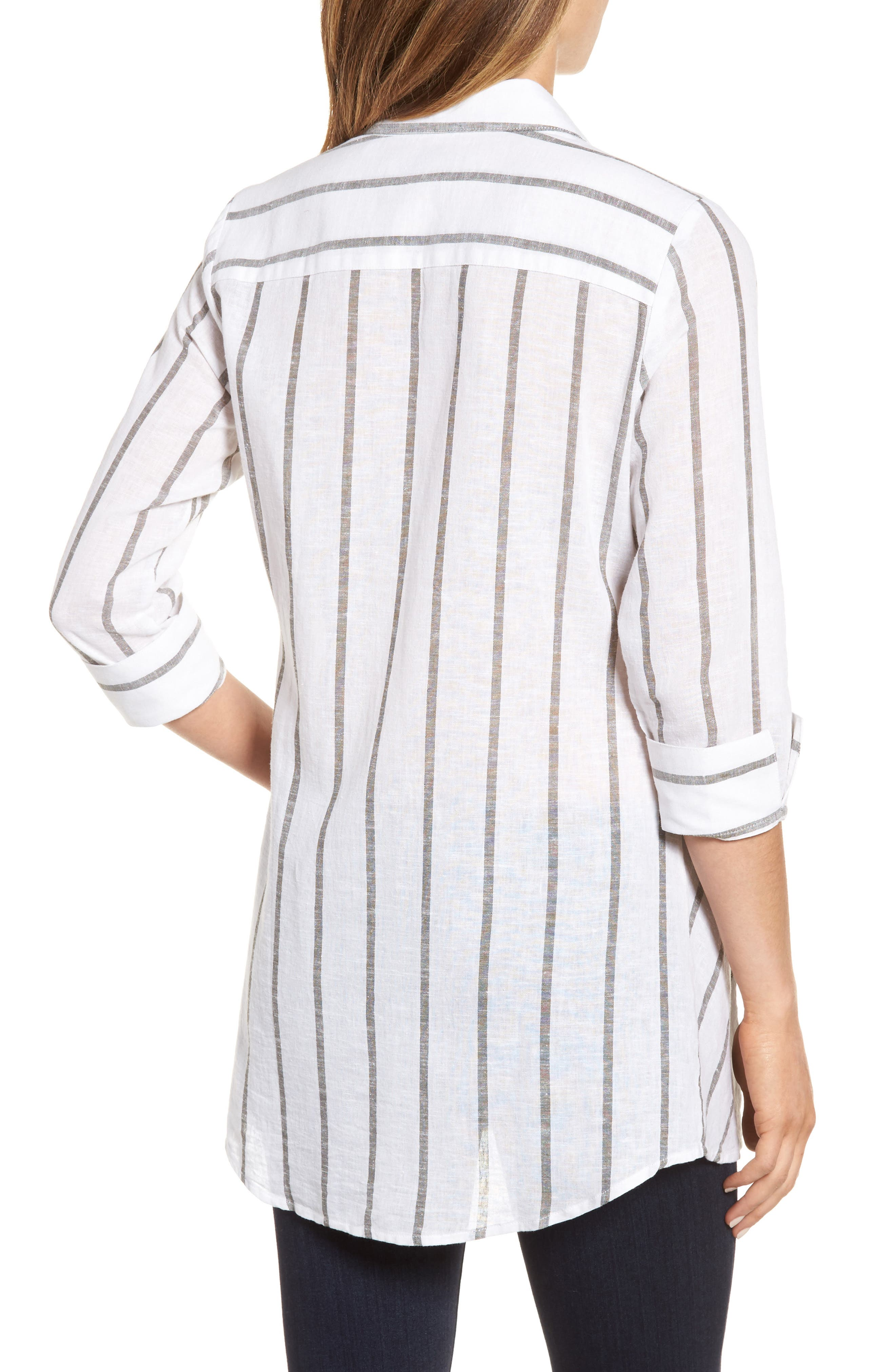 Stripe Tunic Shirt,                             Alternate thumbnail 2, color,                             White/ Olive