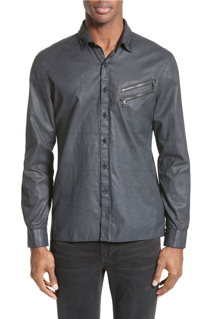 John varvatos collection double zip pocket coated shirt for Housse zip collection captur