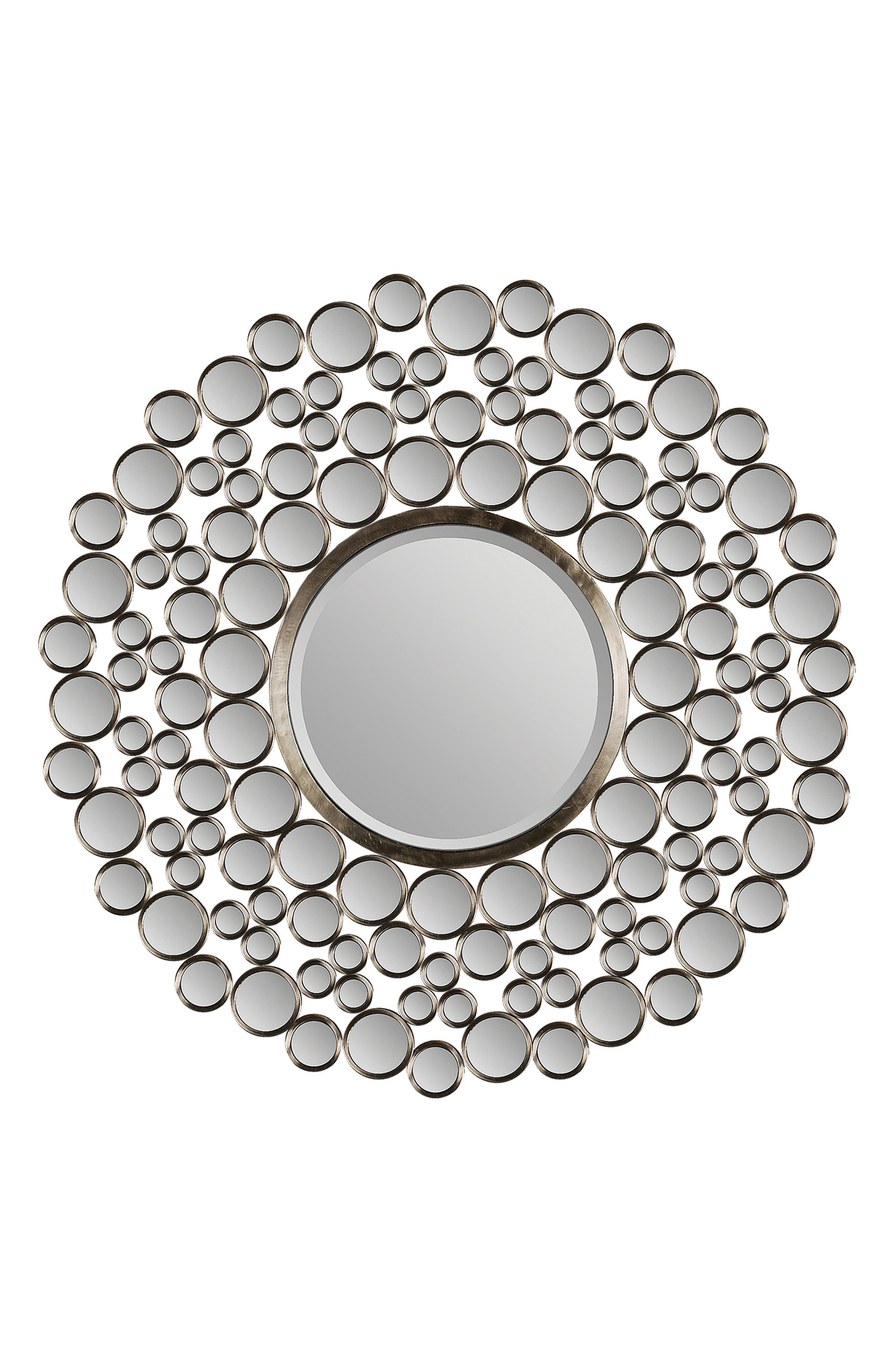 Andromeda Round Mirror,                             Main thumbnail 1, color,                             Satin Nickel