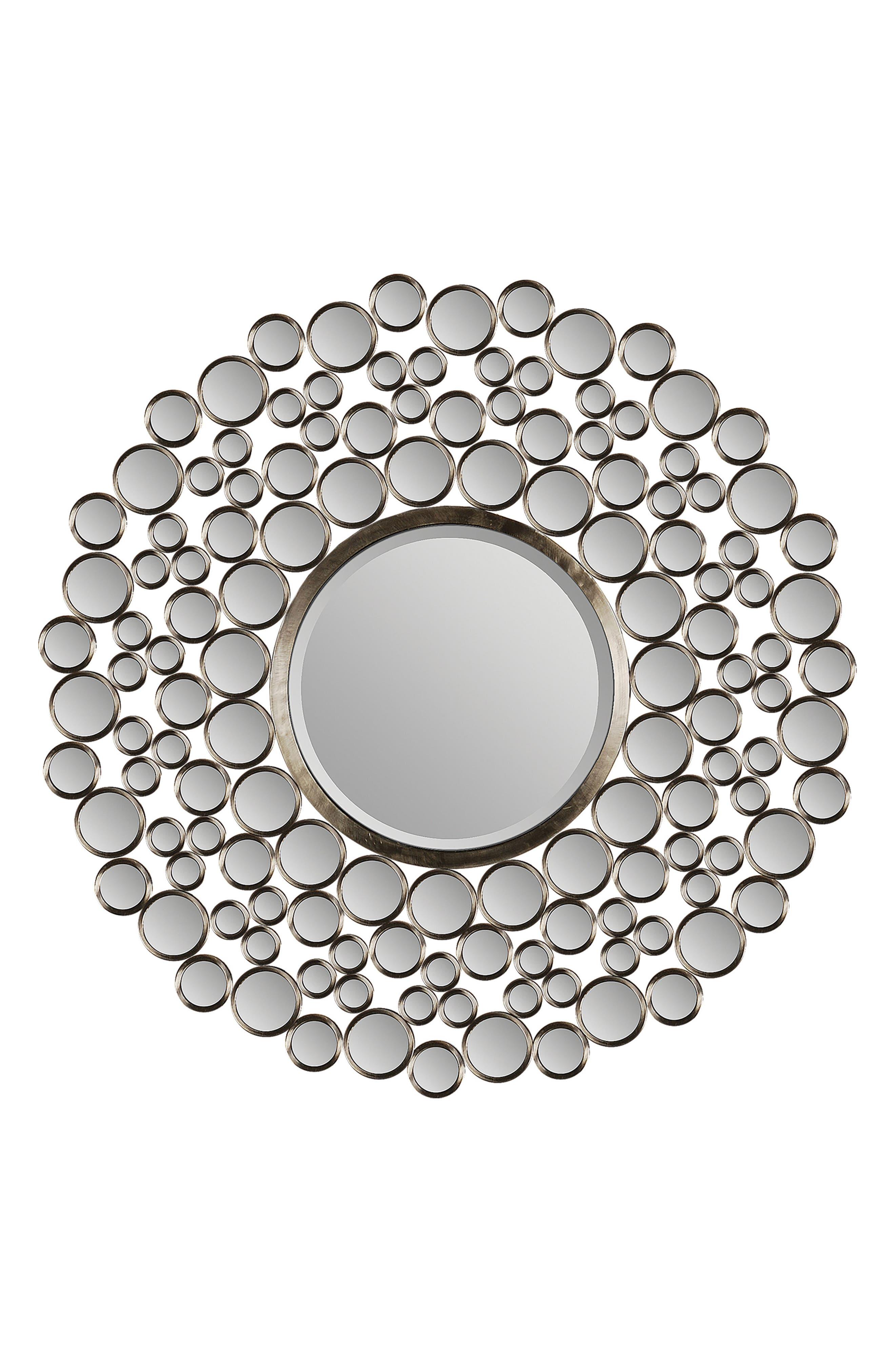 Andromeda Round Mirror,                         Main,                         color, Satin Nickel