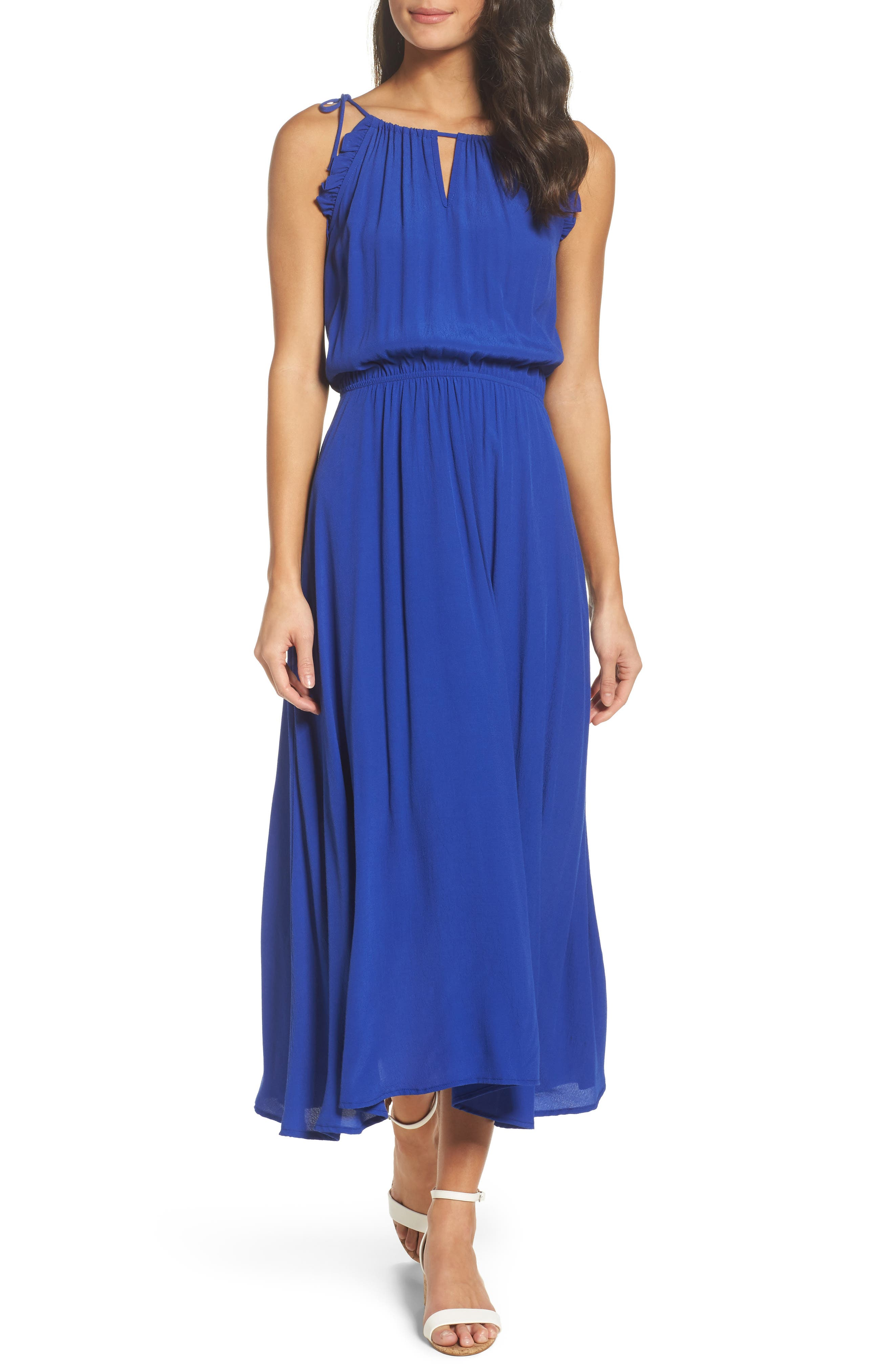 Halter Midi Dress,                         Main,                         color, Blue