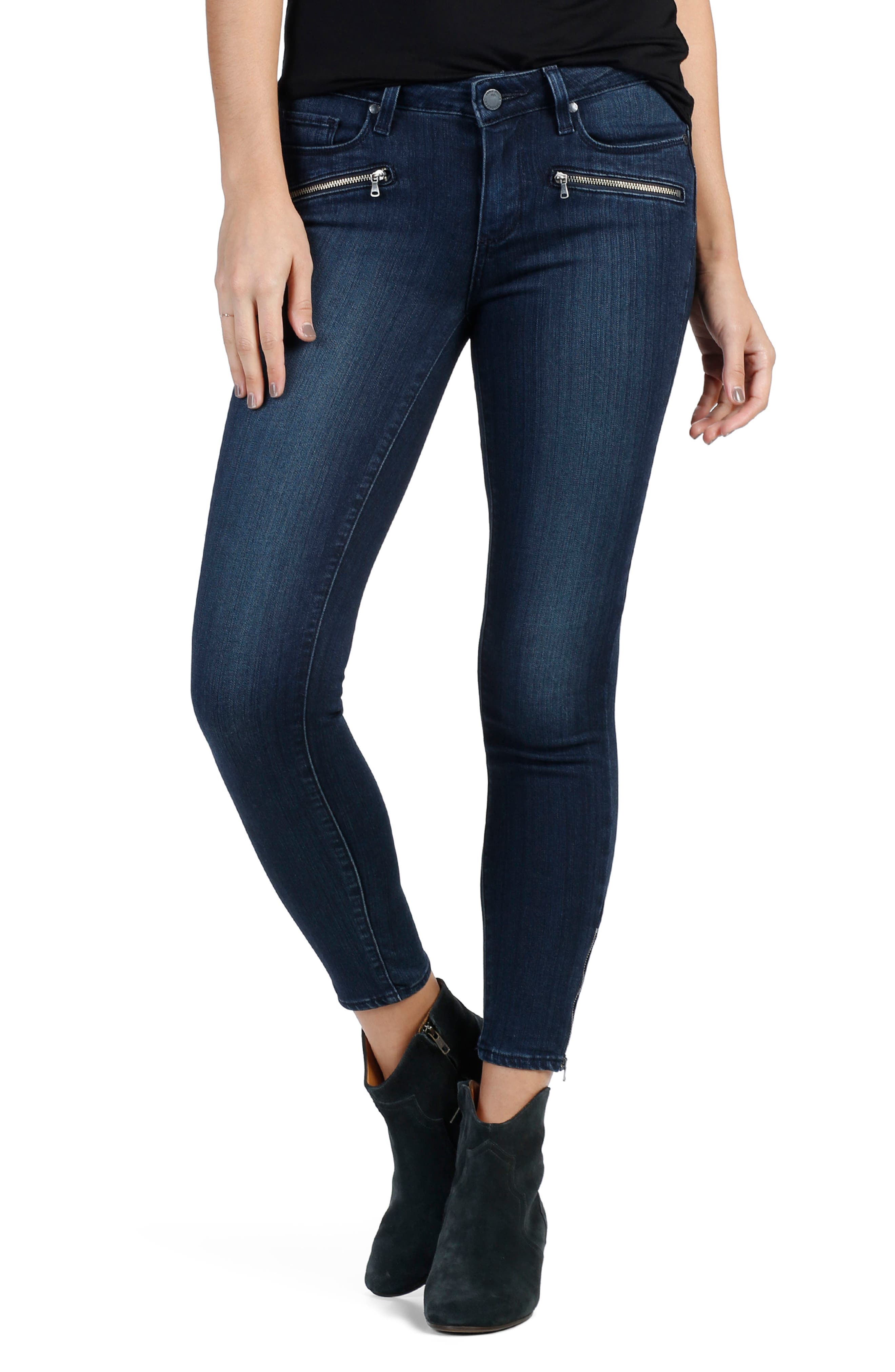 Transcend - Jane Zip Crop Skinny Jeans,                         Main,                         color, Wilson No Whiskers
