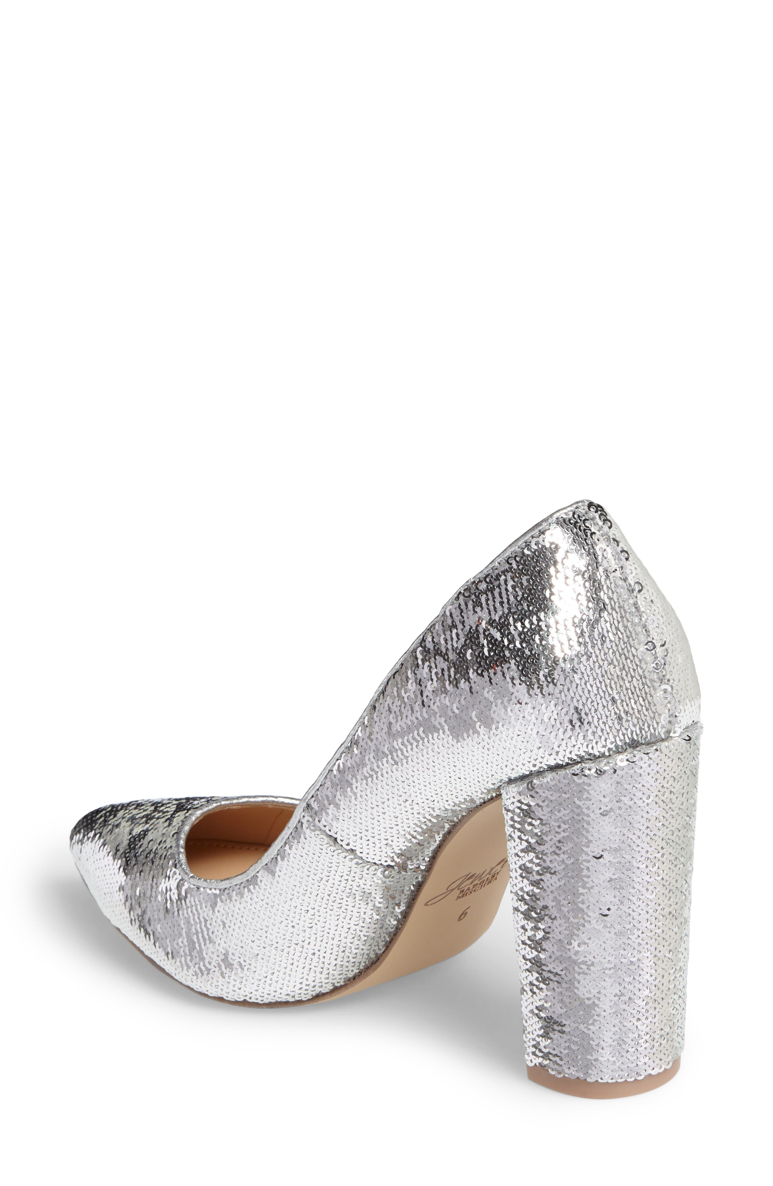 Luxury Pointy Toe Pump,                             Alternate thumbnail 2, color,                             Silver Leather