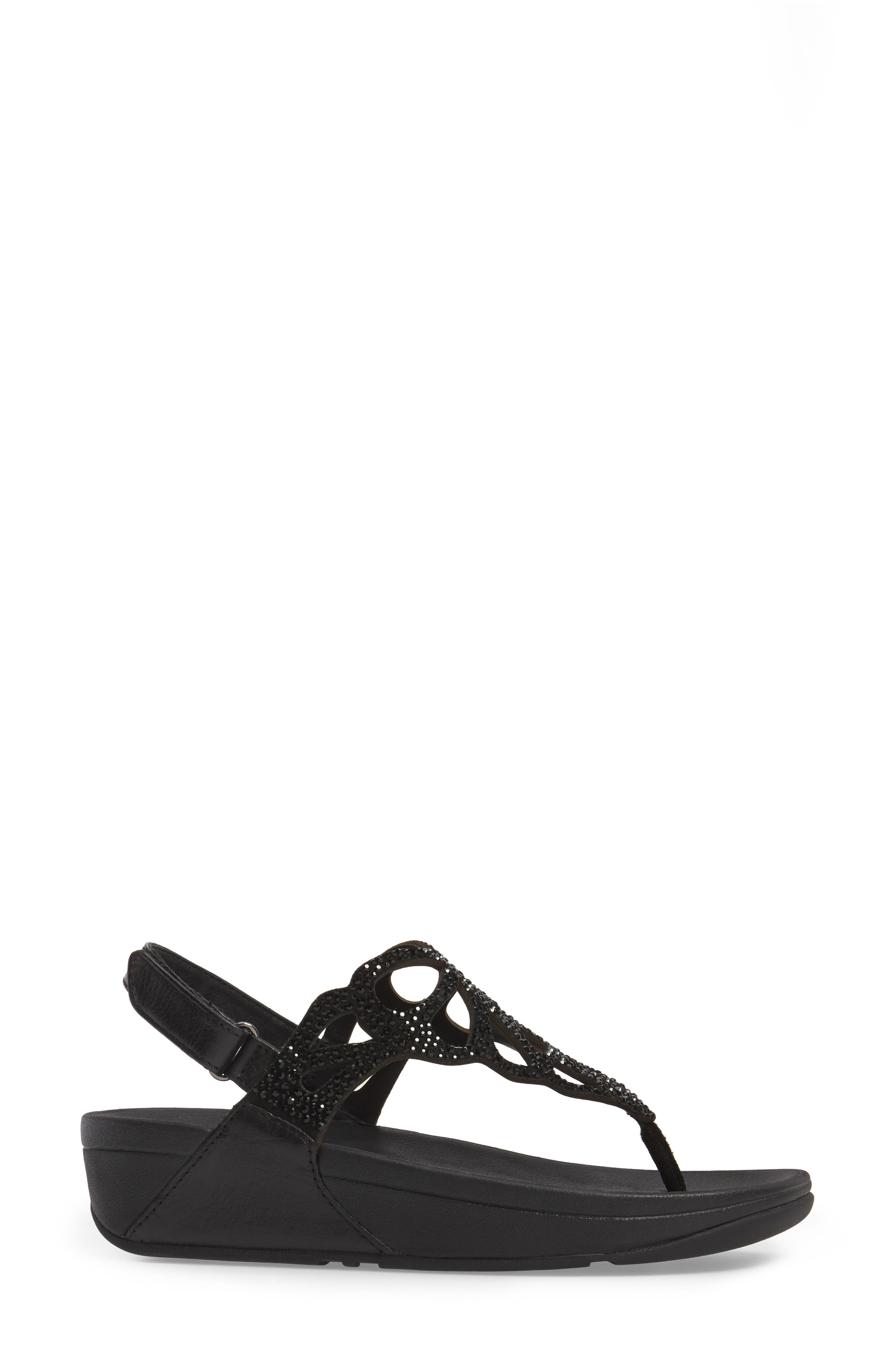 Bumble Crystal Embellished Sandal,                             Alternate thumbnail 3, color,                             Black Leather