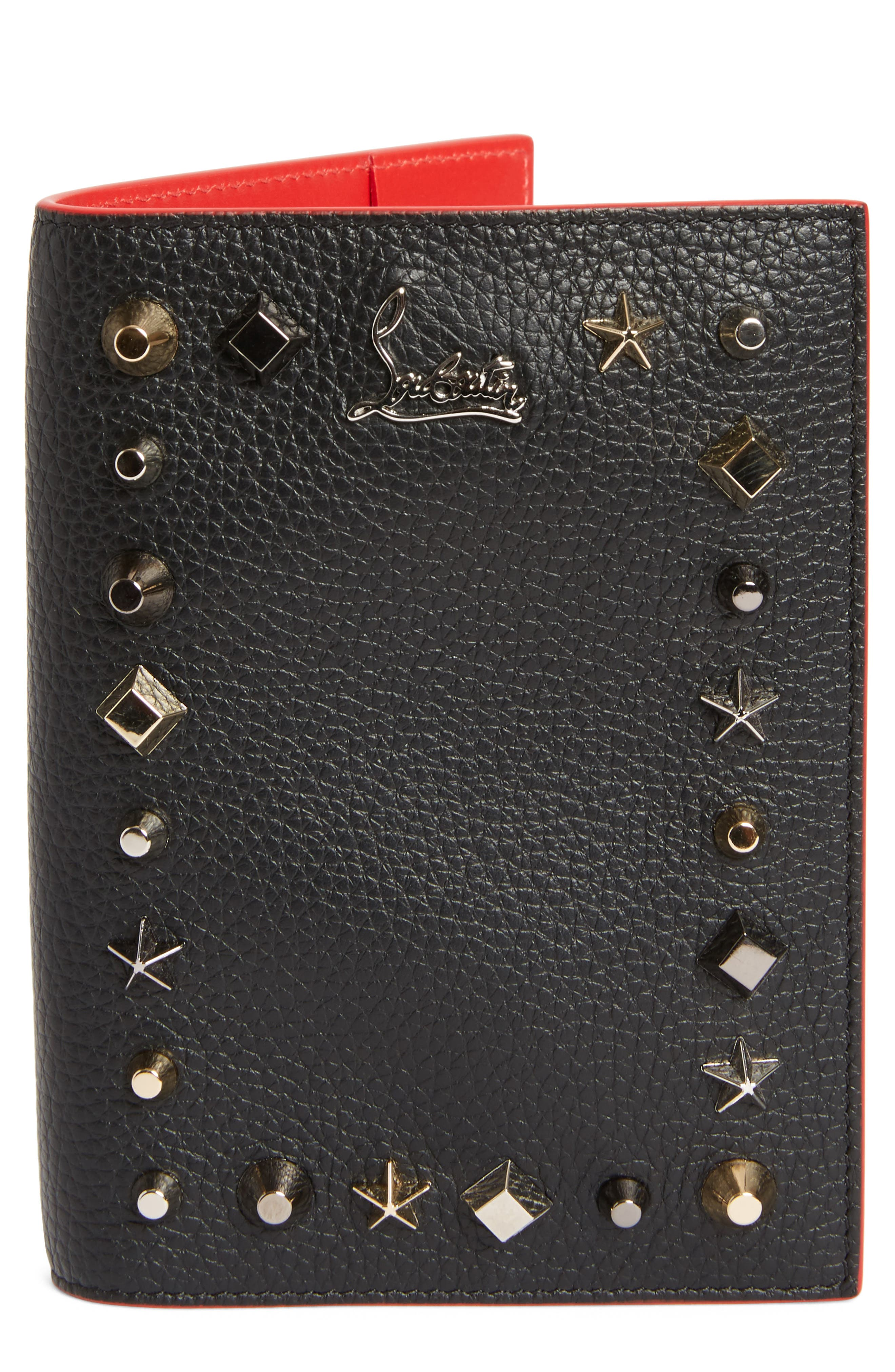 Christian Louboutin Loubipass Empire Studded Leather Passport Case
