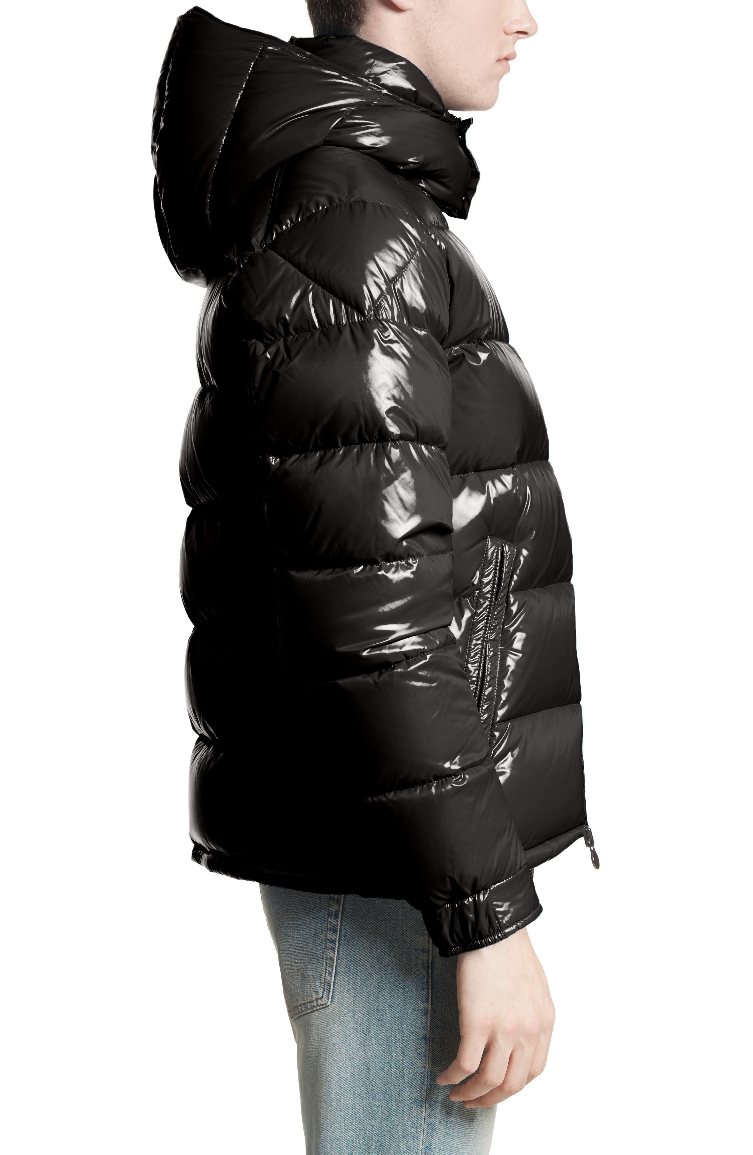 Maya Lacquered Down Jacket,                             Alternate thumbnail 3, color,                             Black
