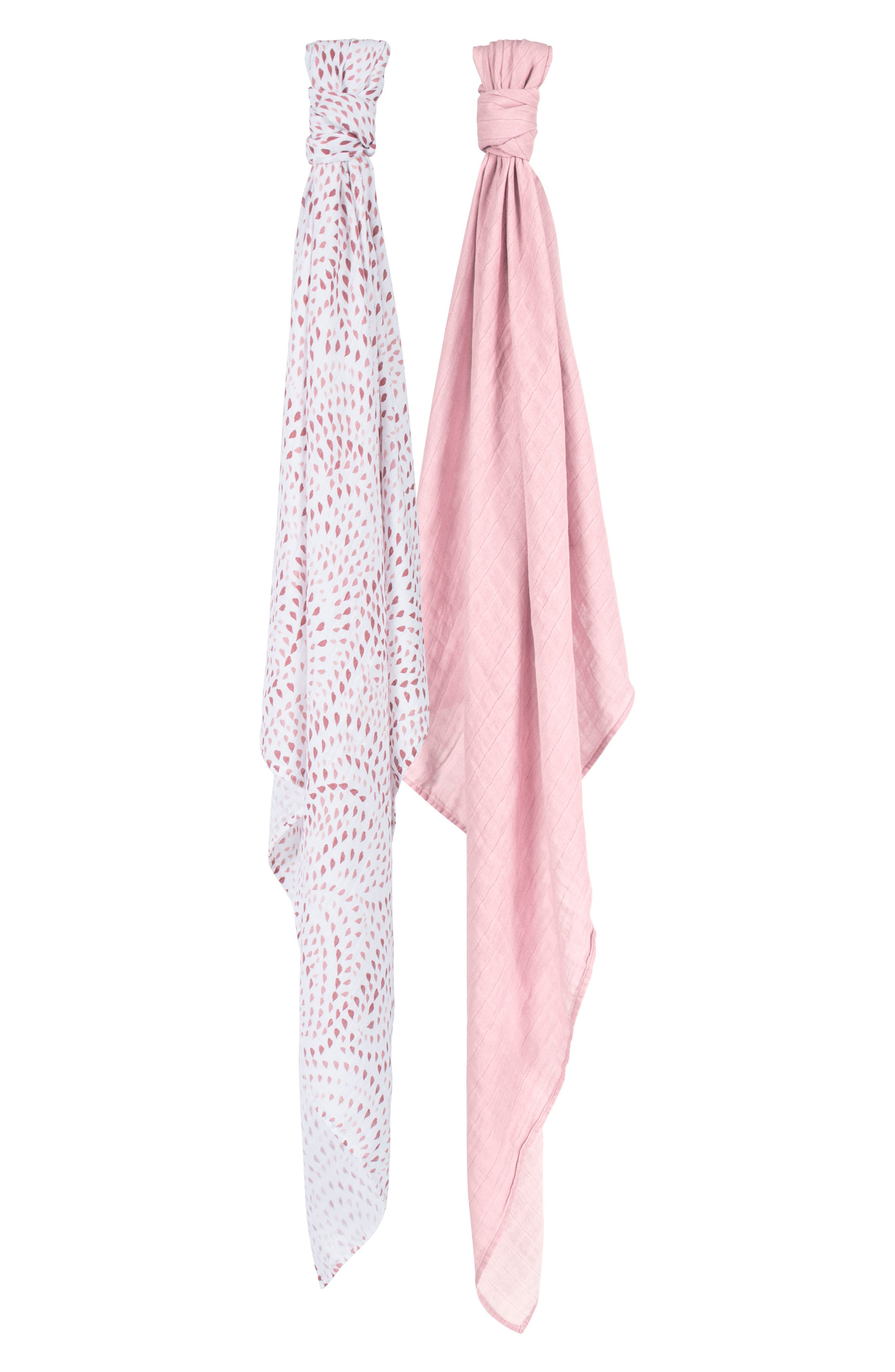 2-Pack Muslin Swaddle Blankets,                             Main thumbnail 1, color,                             Rose Quartz And Petal