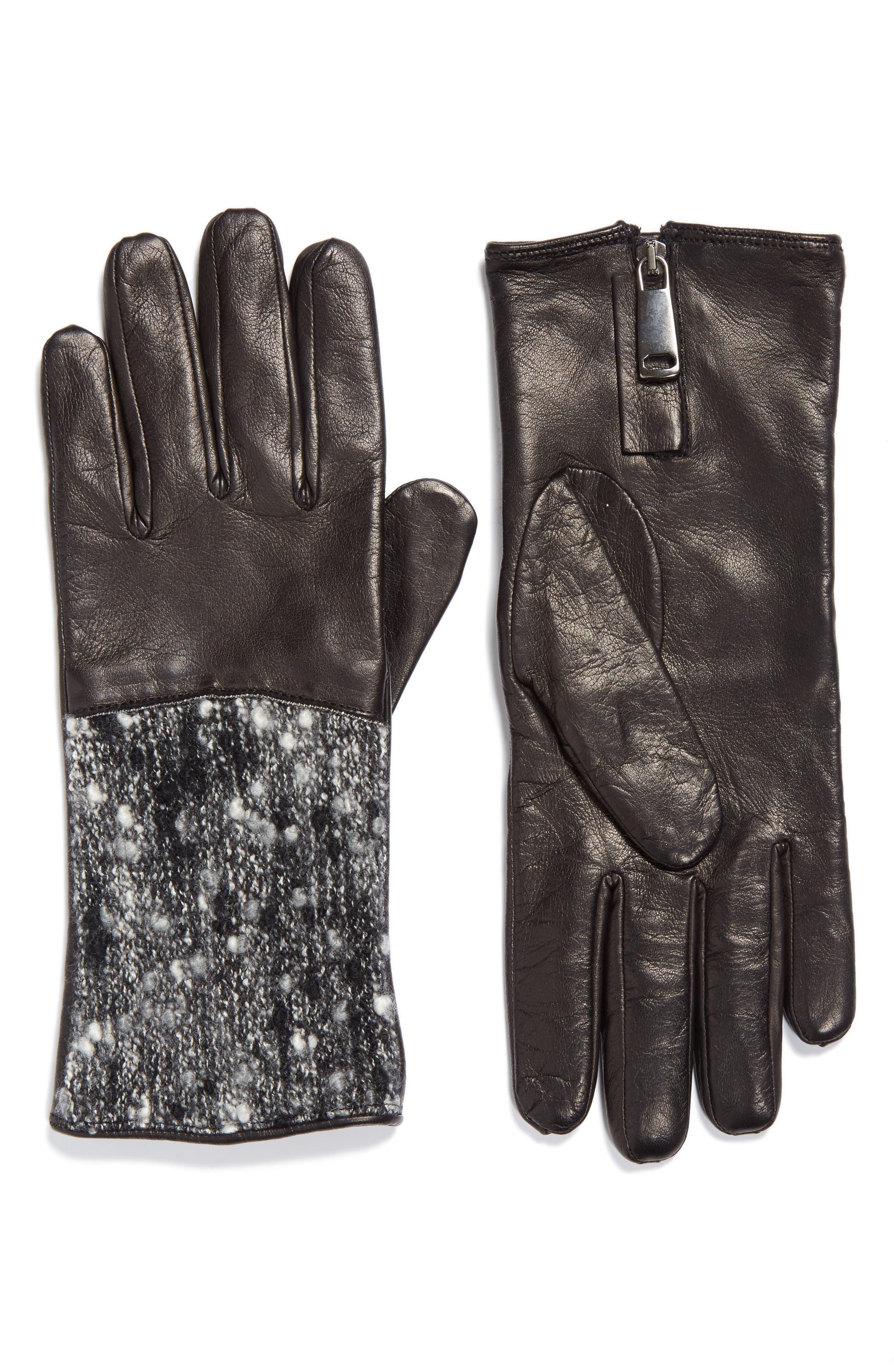 Fabiana Filippi Pebble Tweed & Leather Gloves