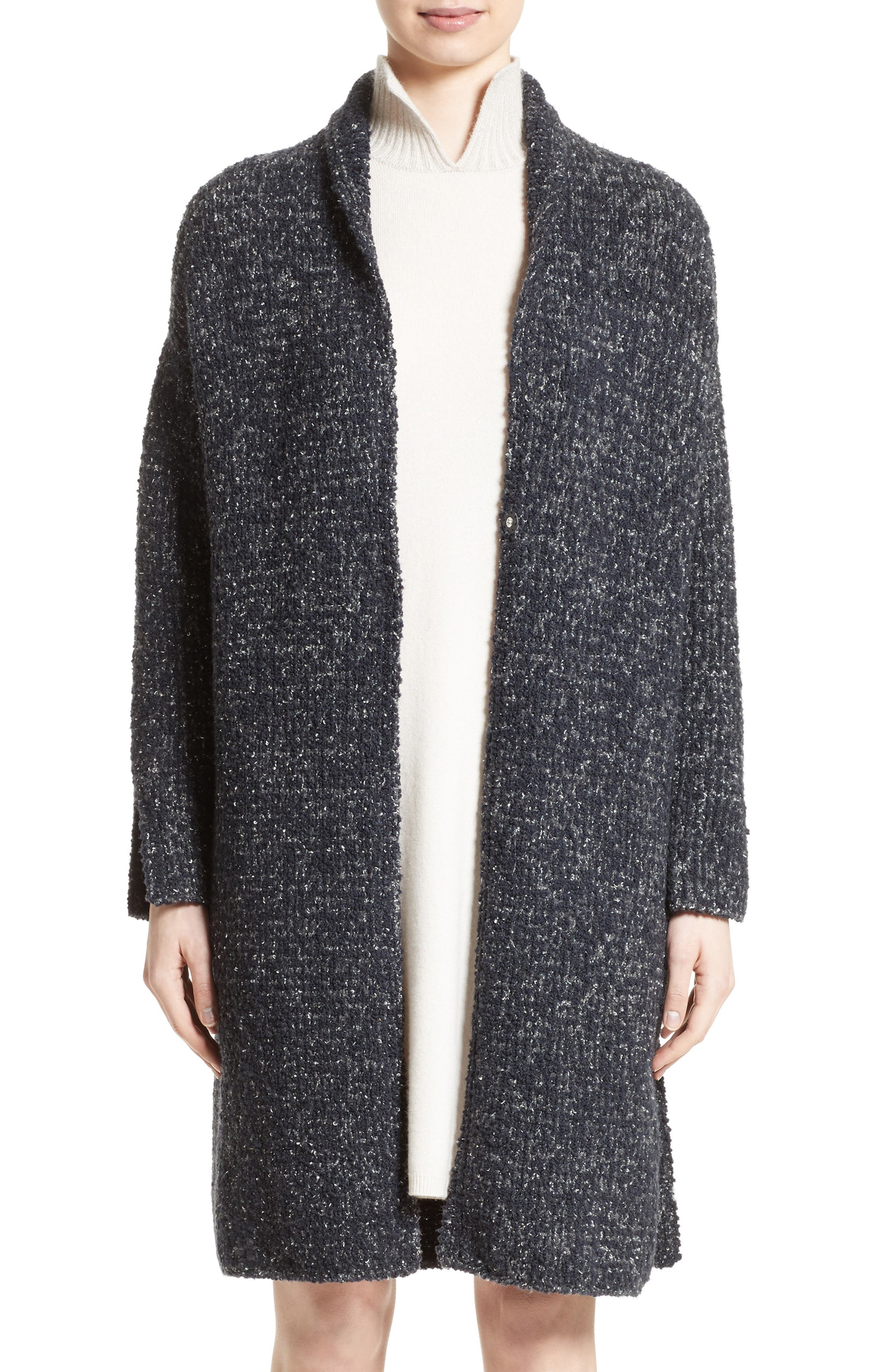 Wool Blend Bouclé Long Cardigan,                             Main thumbnail 1, color,                             Grey Multi