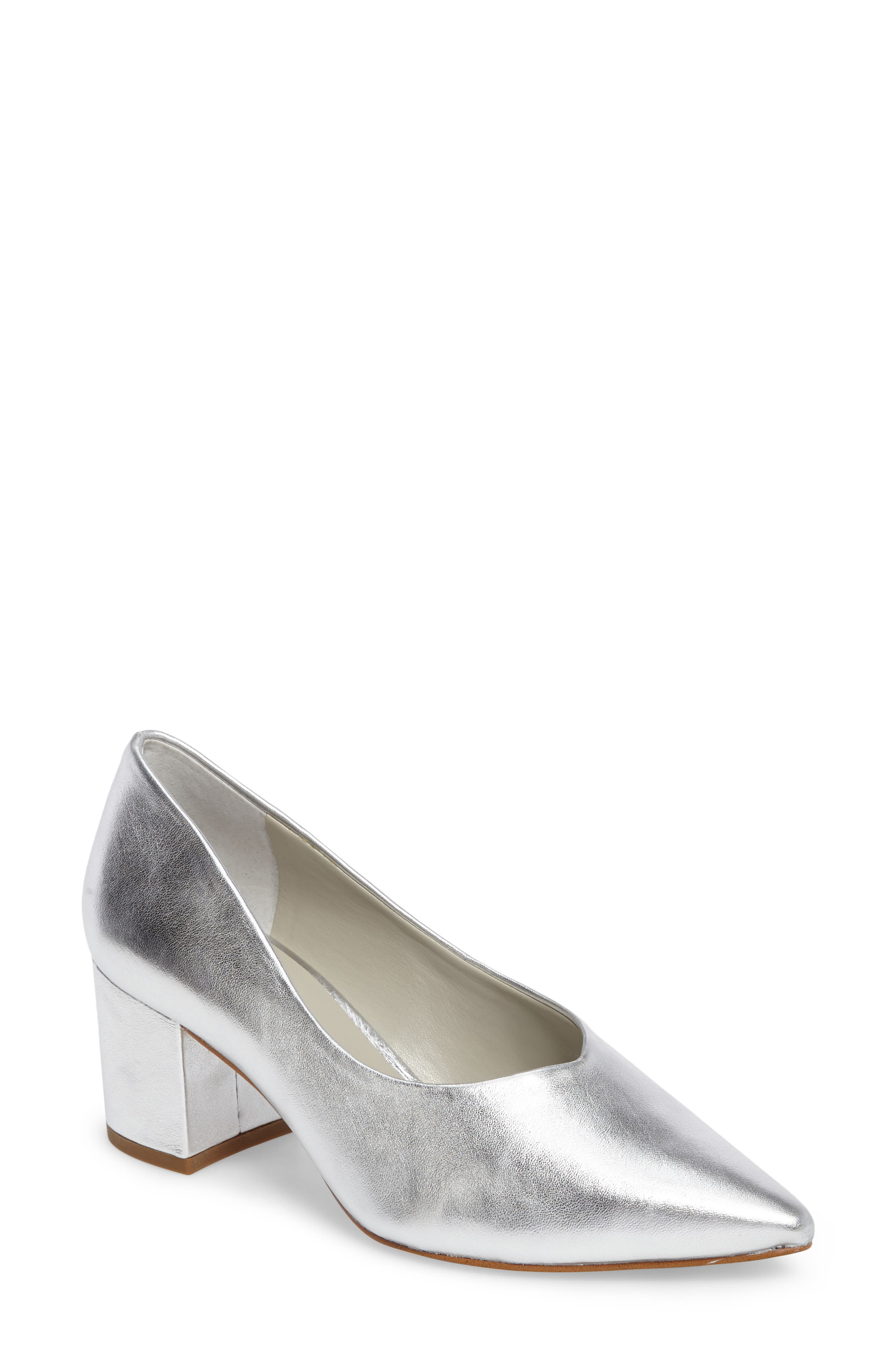 Jact Pointy Toe Pump,                             Main thumbnail 1, color,                             Bright Silver Leather