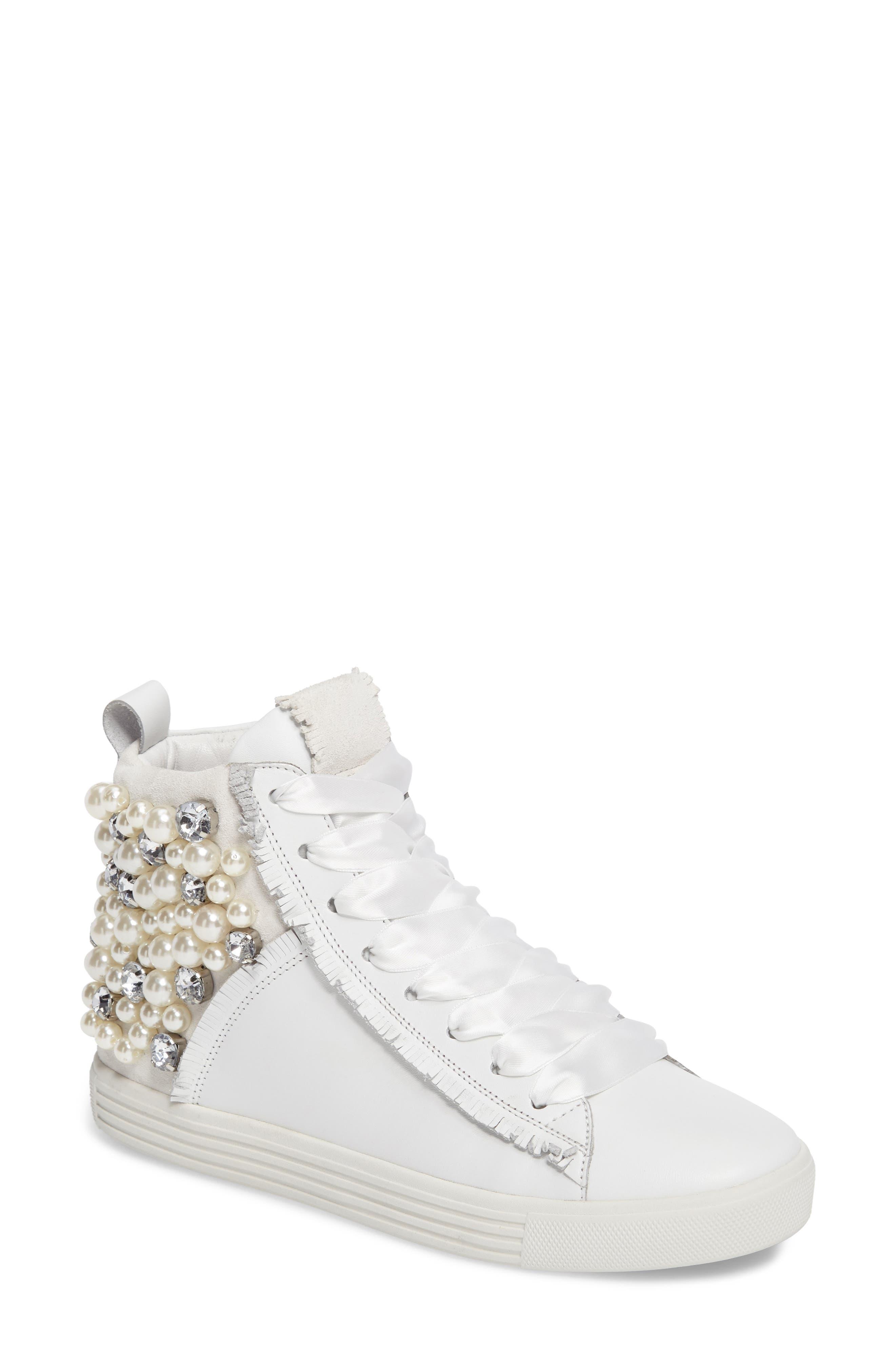 Kennel & Schmenger Town Flower High Top Sneaker,                         Main,                         color, White