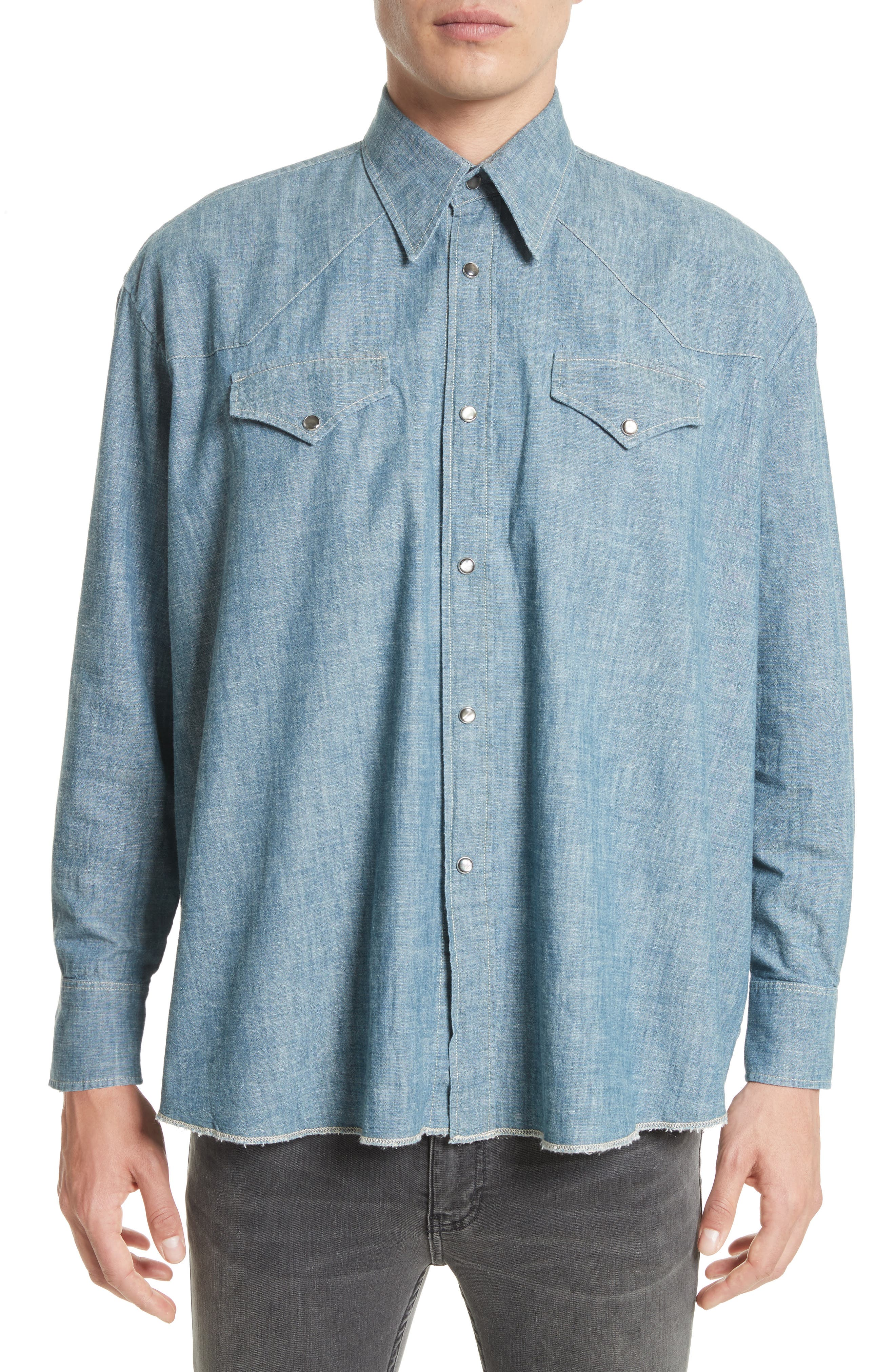 Oversize Chambray Snap Front Shirt,                         Main,                         color, Blue