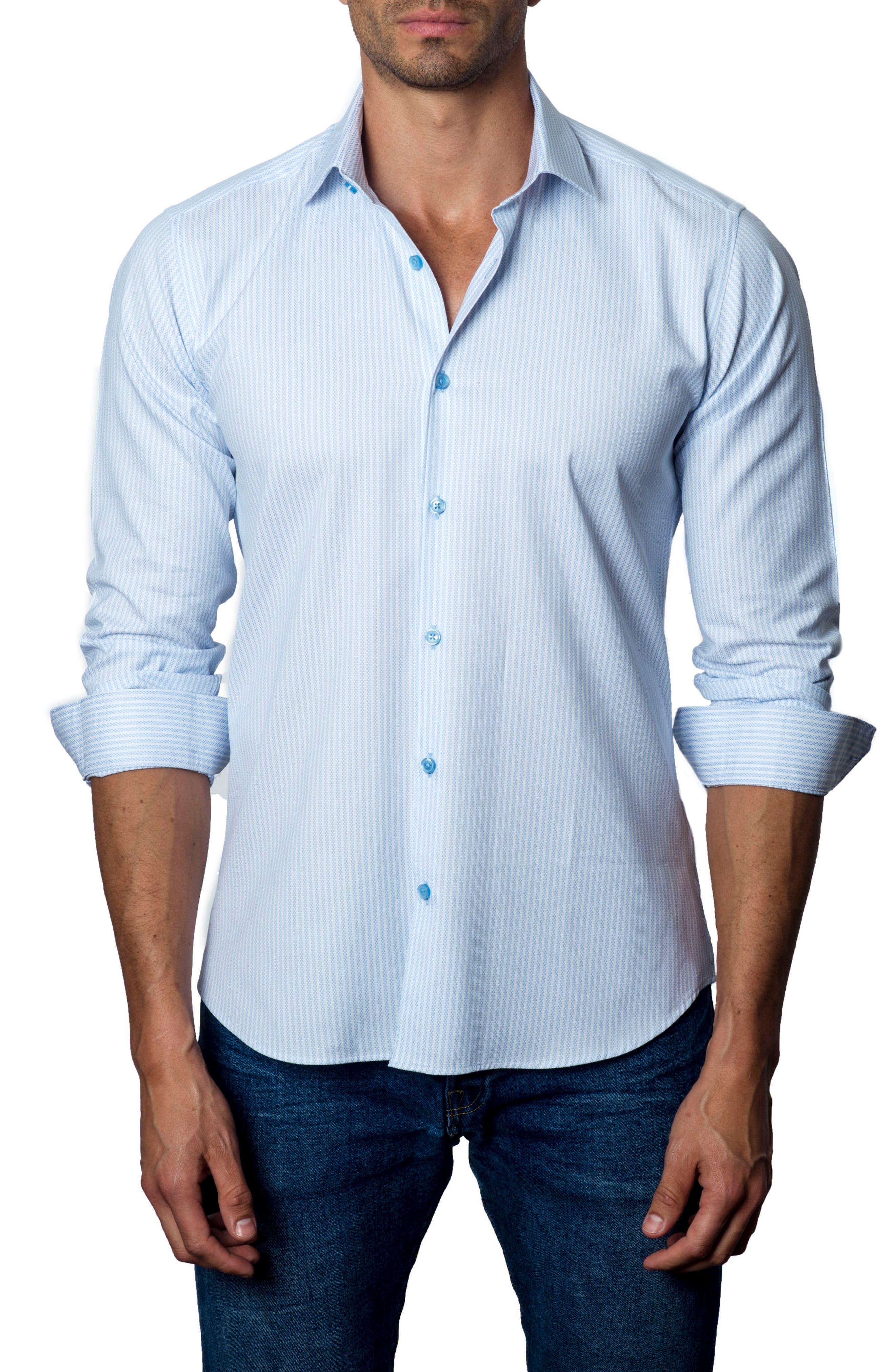 Stripe Sport Shirt,                         Main,                         color, Light Blue / White Print