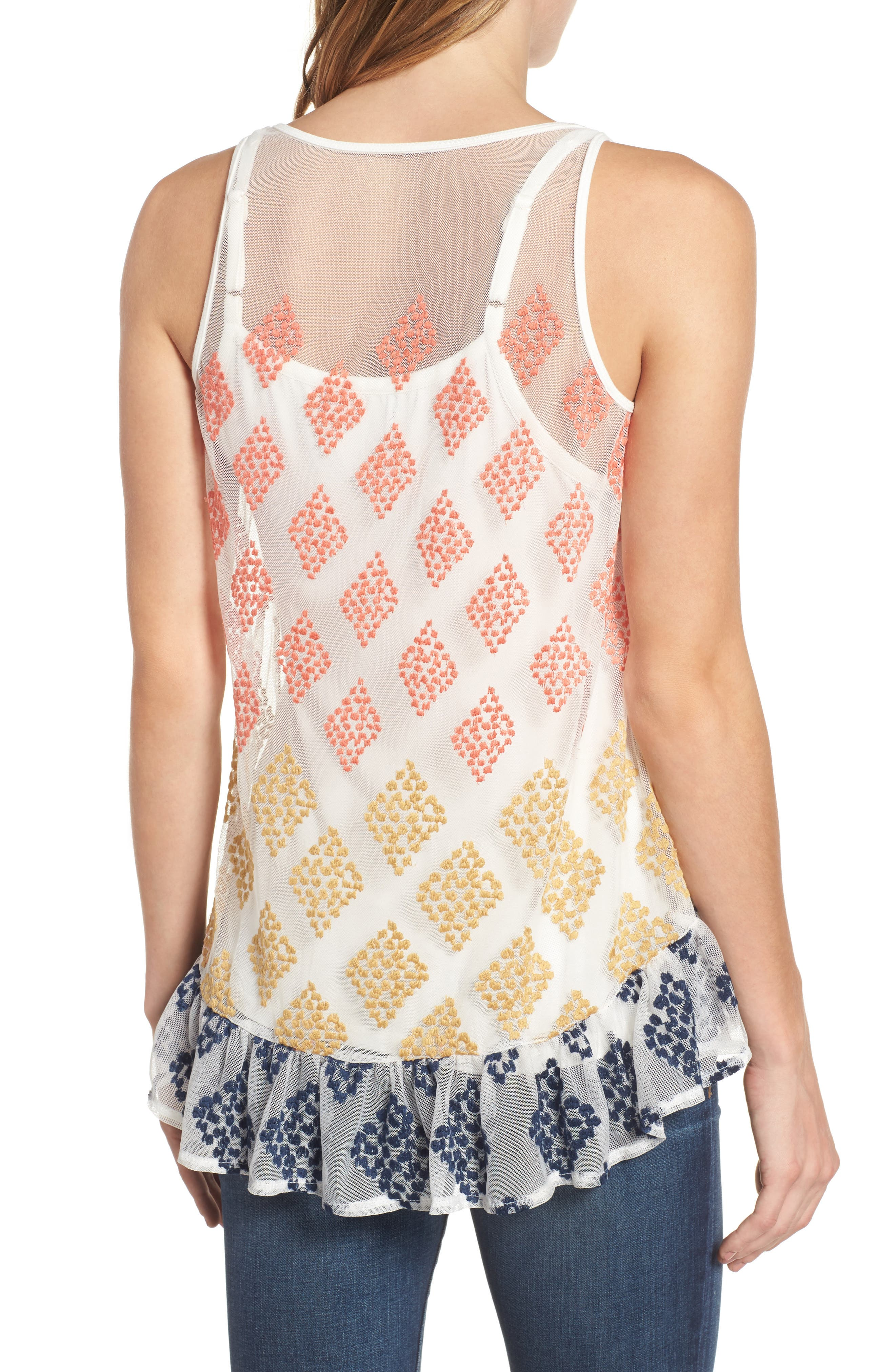 Embroidered Mesh Peplum Tank,                             Alternate thumbnail 2, color,                             Off White