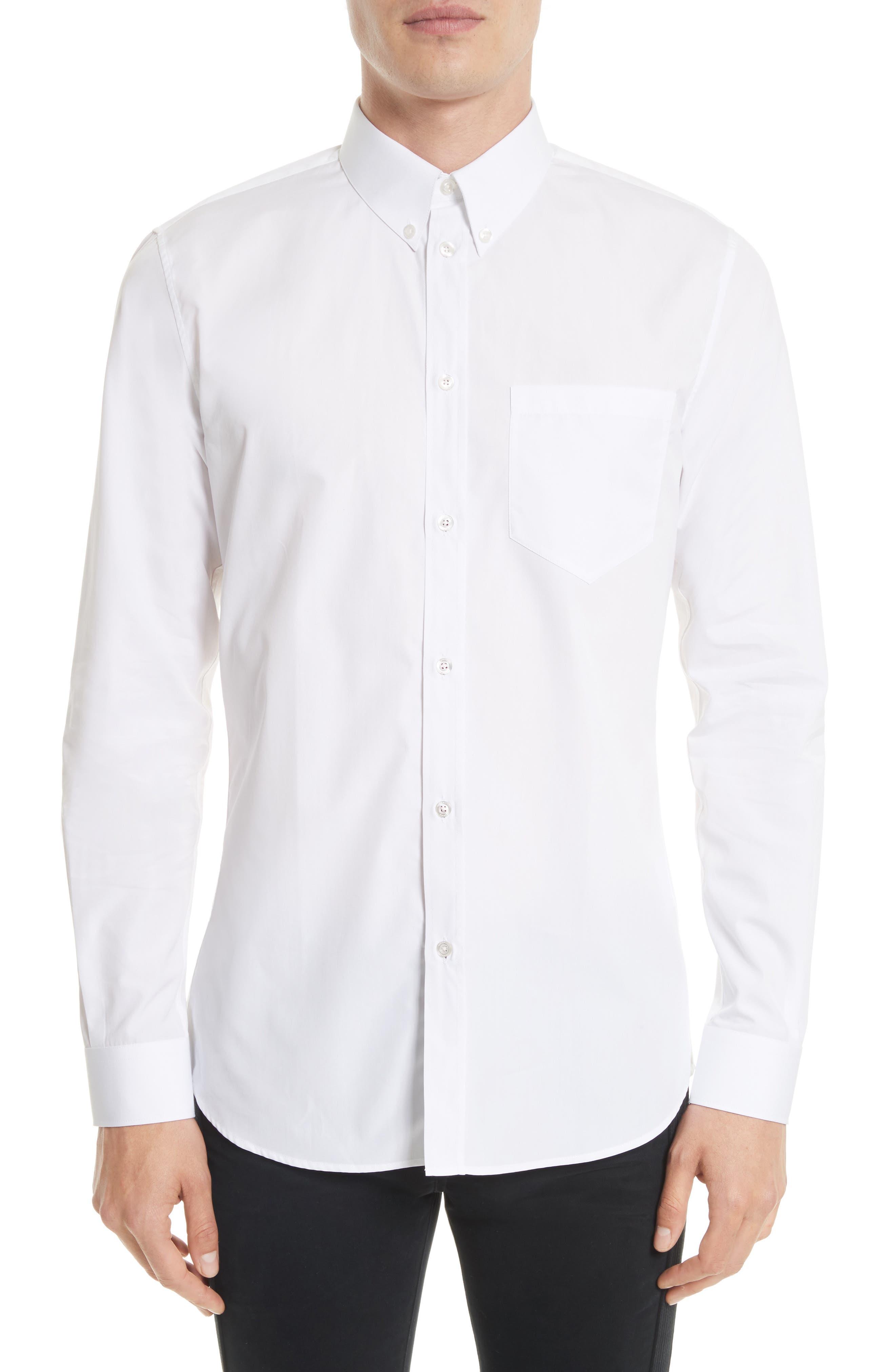 Slim Fit Band Placket Sport Shirt,                             Main thumbnail 1, color,                             White