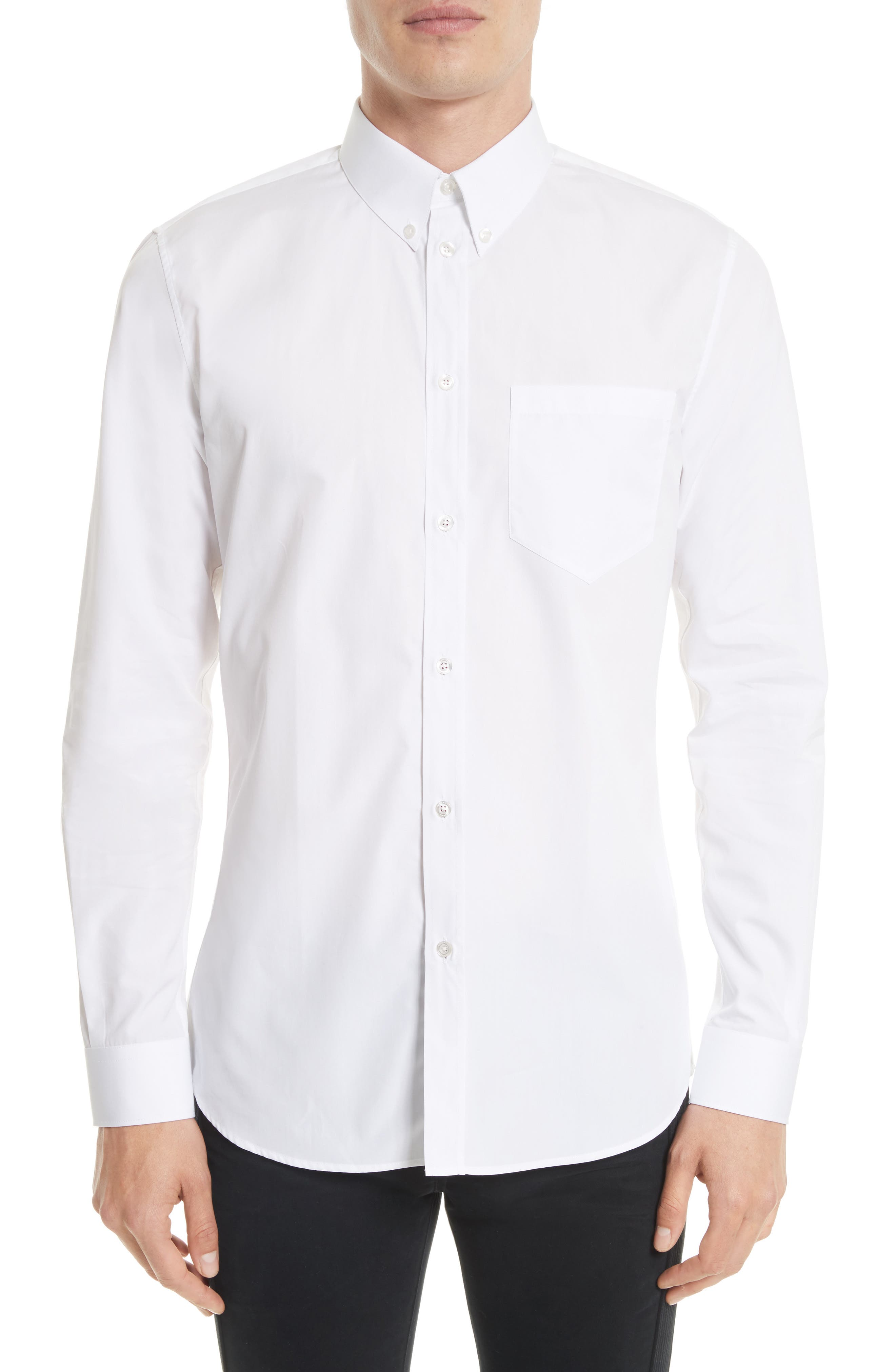 Slim Fit Band Placket Sport Shirt,                         Main,                         color, White