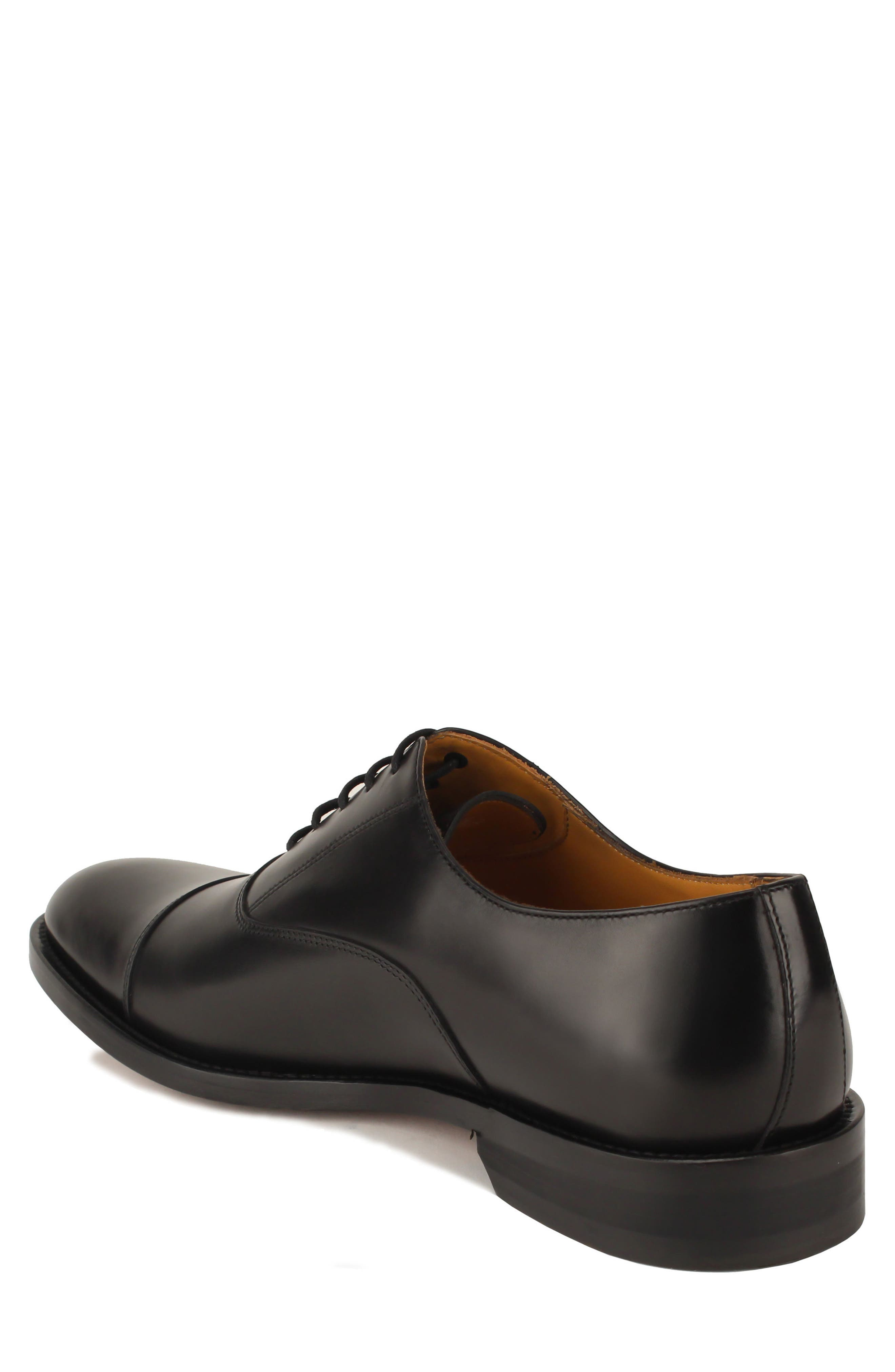 Nathan Cap Toe Oxford,                             Alternate thumbnail 2, color,                             Black Leather